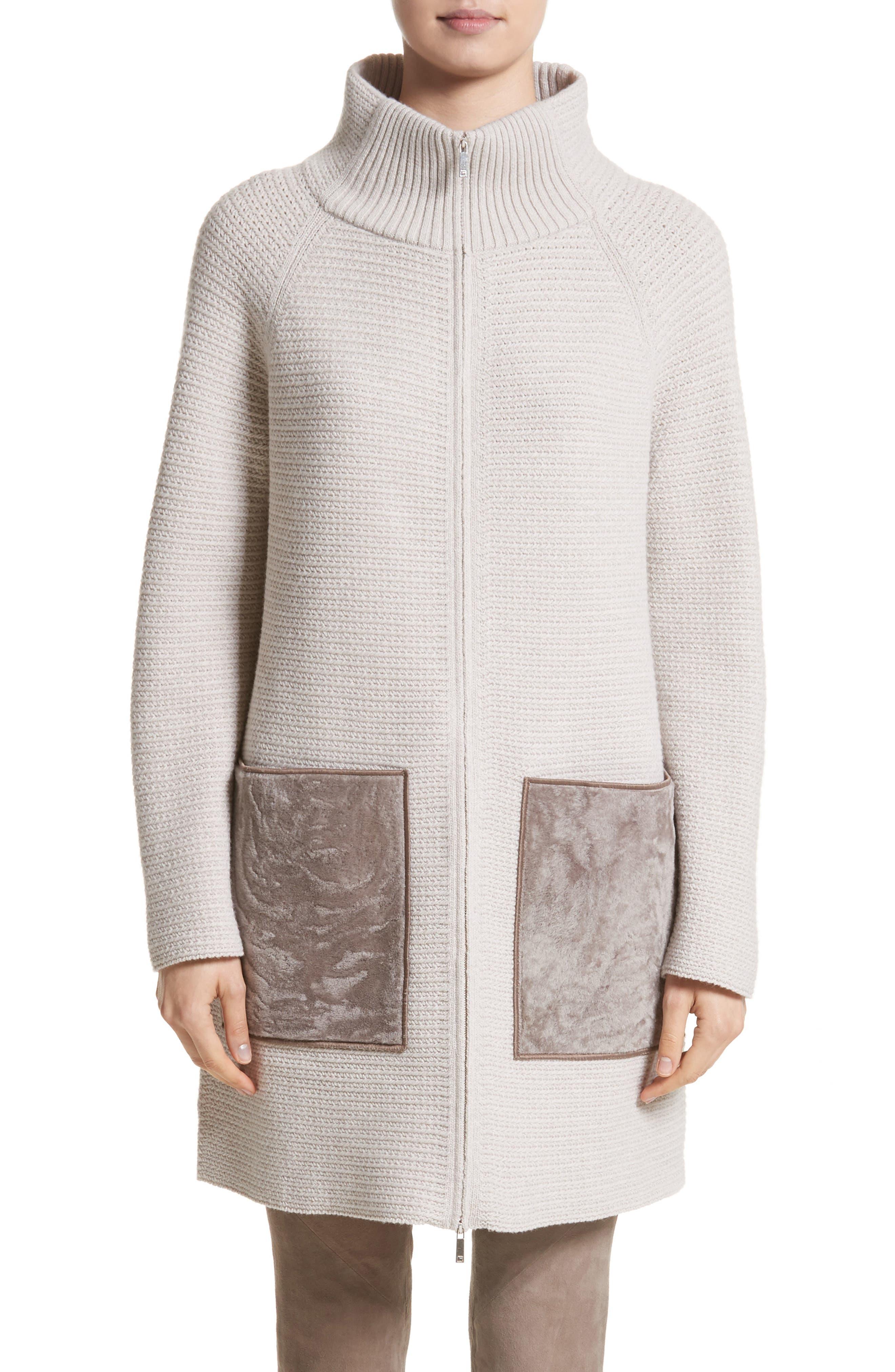 Wool & Cashmere Herringbone Stitch Cardigan with Genuine Shearling Pockets,                         Main,                         color, Ecru Melange