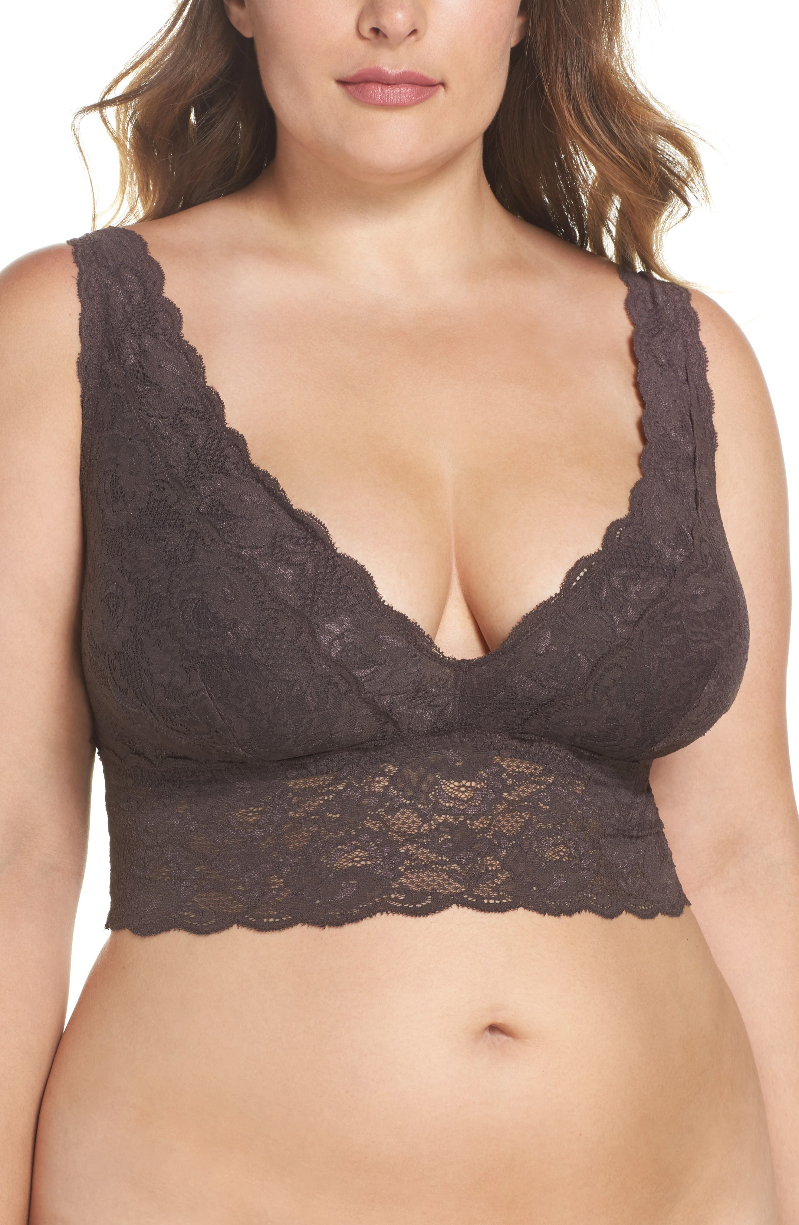Alternate Image 1 Selected - Cosabella Never Say Never Plungie Lace Longline Bralette (Plus Size)