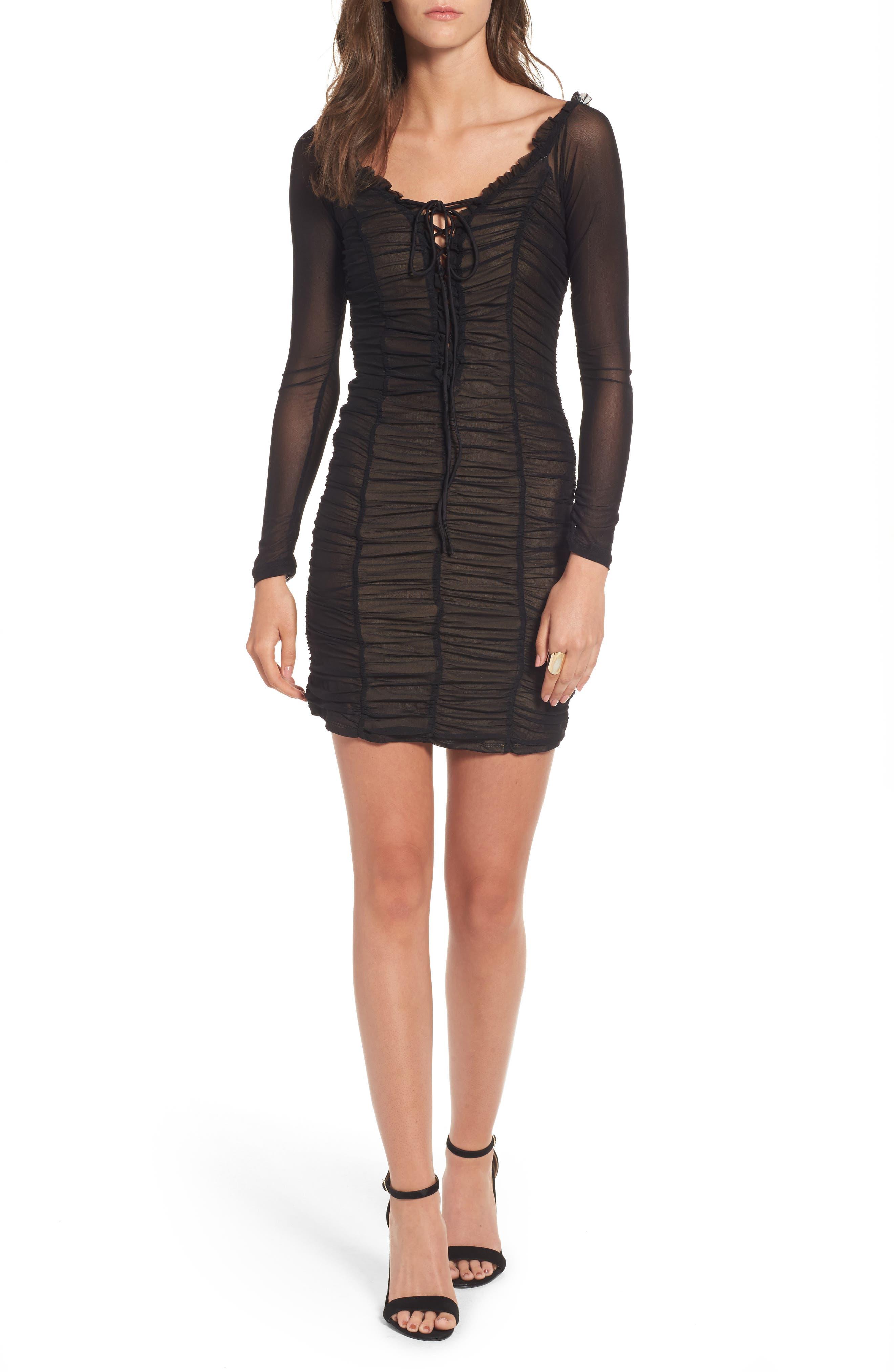 Jardin Ruched Body-Con Dress,                         Main,                         color, Black
