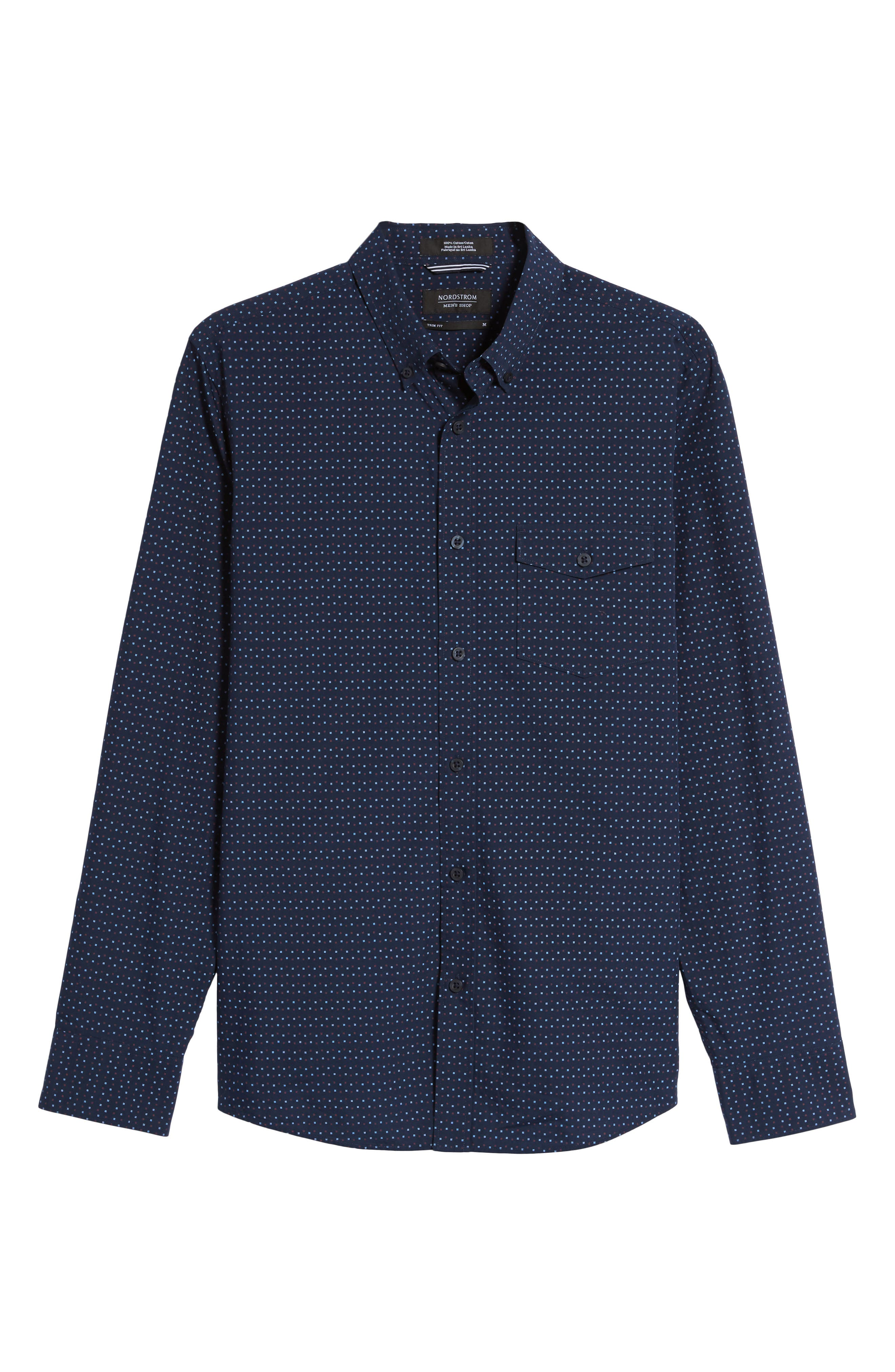 Alternate Image 6  - Nordstrom Men's Shop Ivy Trim Fit Print Sport Shirt (Tall)