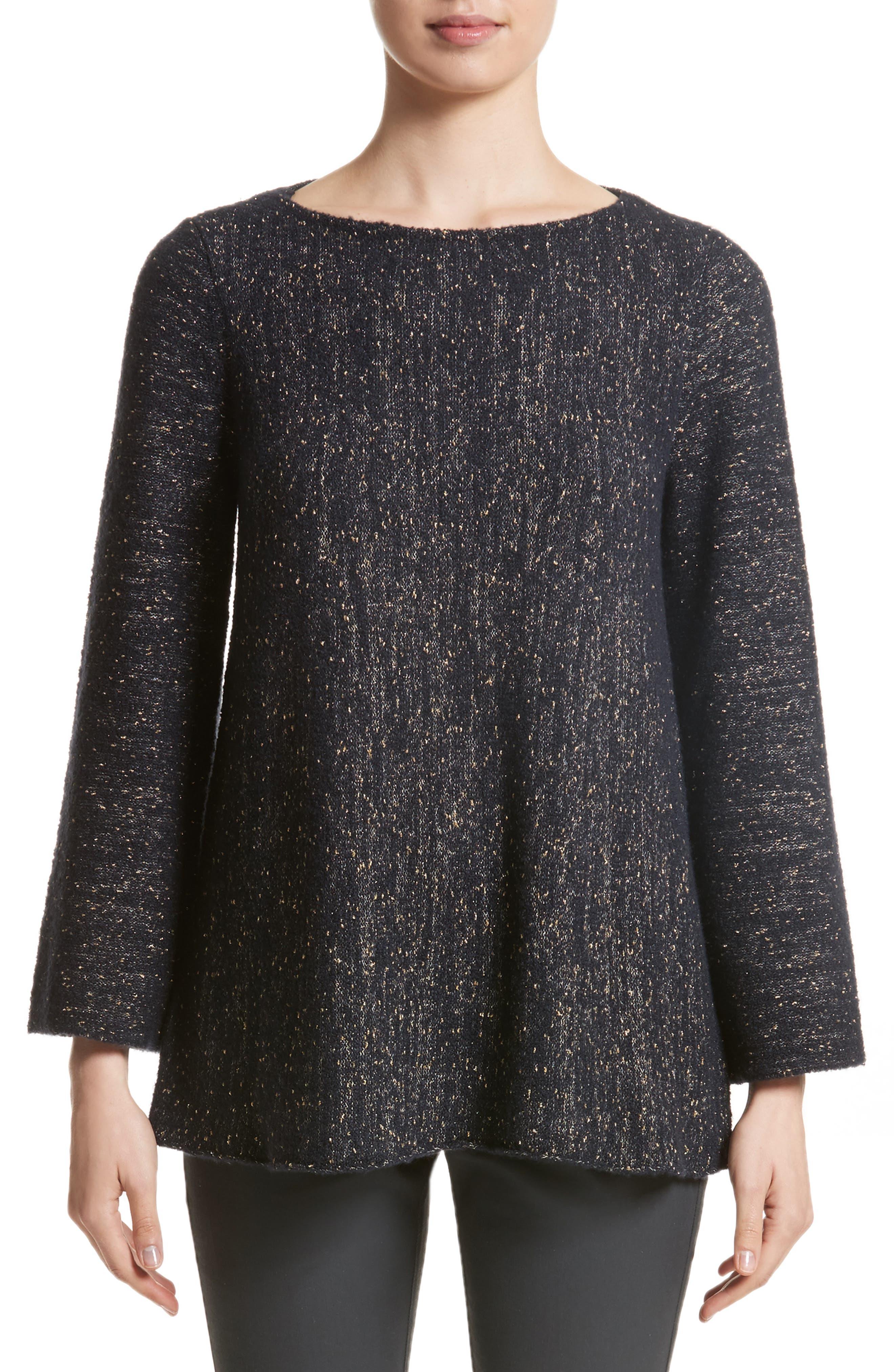 Lafayette Metallic Knit A-Line Sweater,                         Main,                         color, Ink Metallic