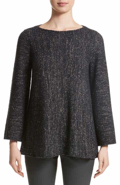 Lafayette Metallic Knit A-Line Sweater
