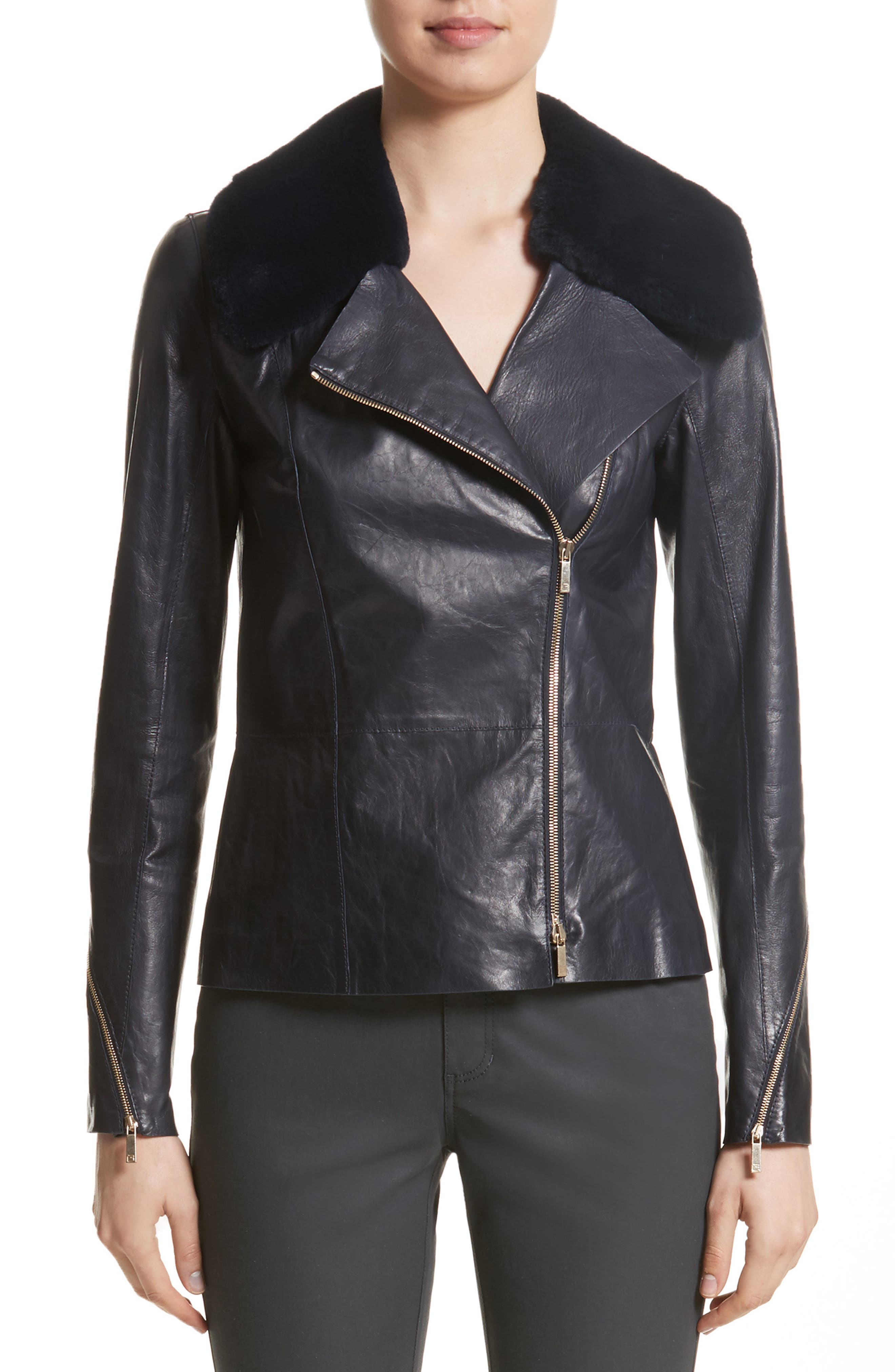 Kimbry Leather Jacket with Removable Genuine Rex Rabbit Fur Collar,                         Main,                         color, Ink