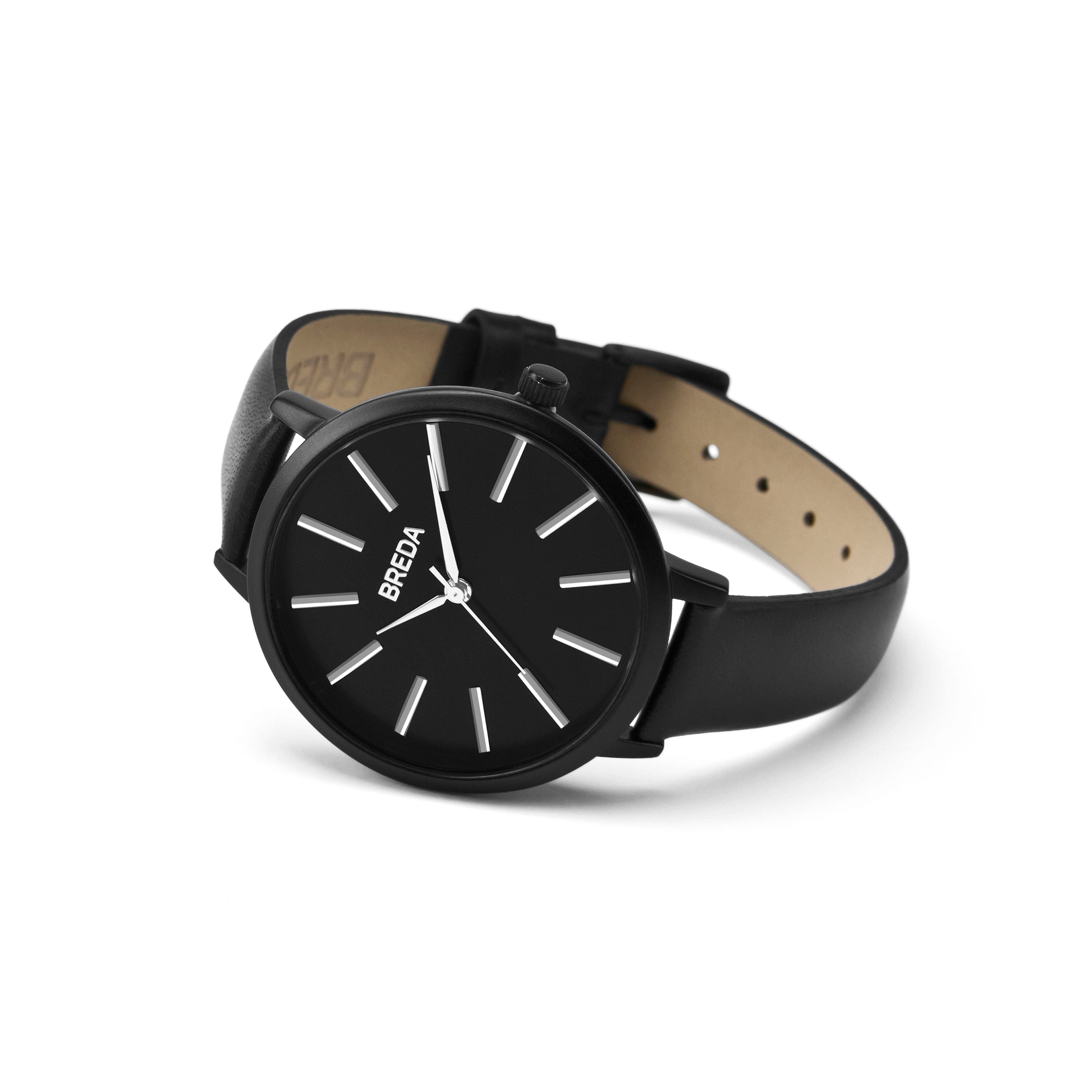 Joule Round Leather Strap Watch, 37mm,                             Alternate thumbnail 2, color,                             Black