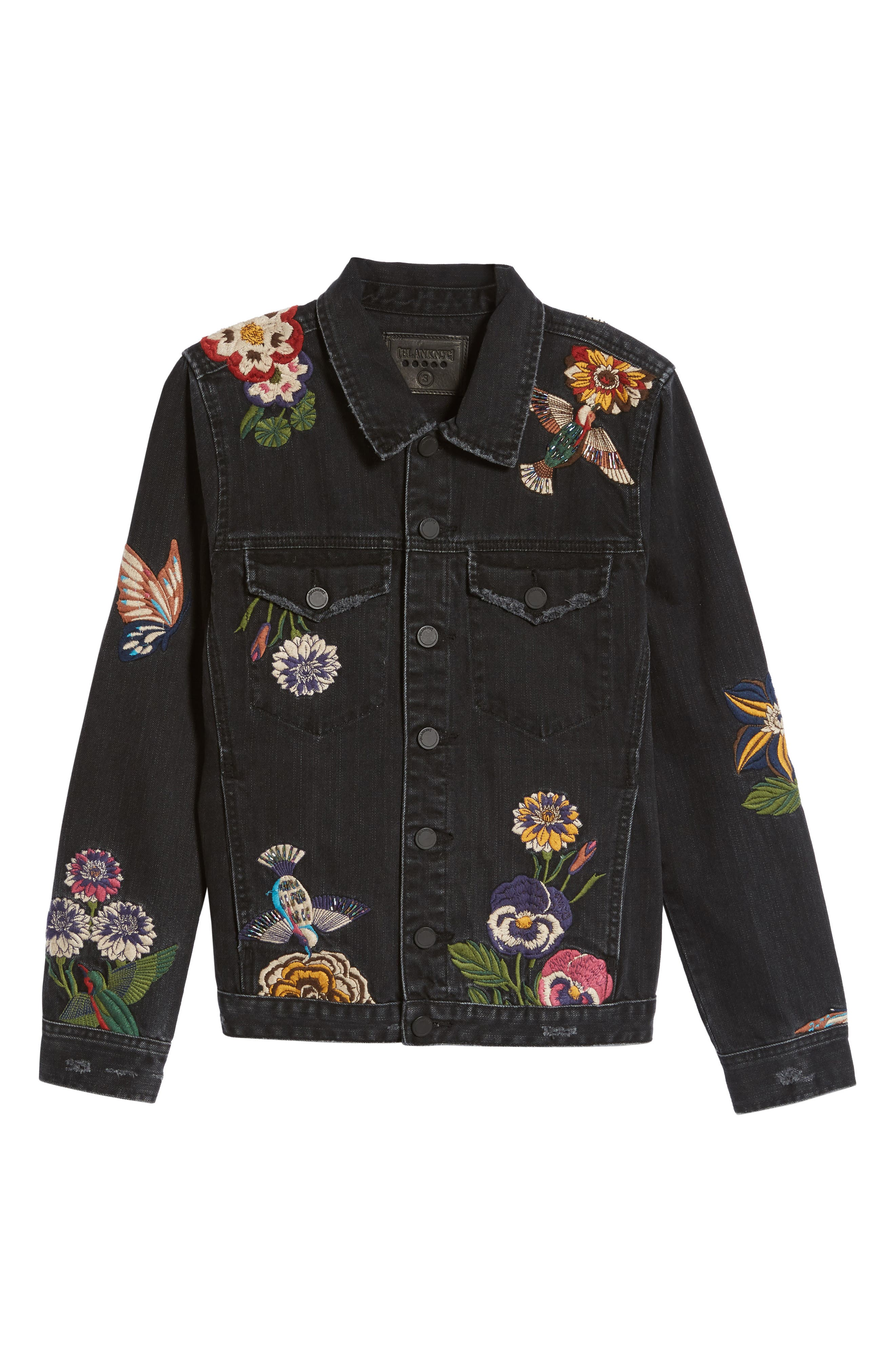 Embroidered Denim Jacket,                             Alternate thumbnail 6, color,                             Night Skies