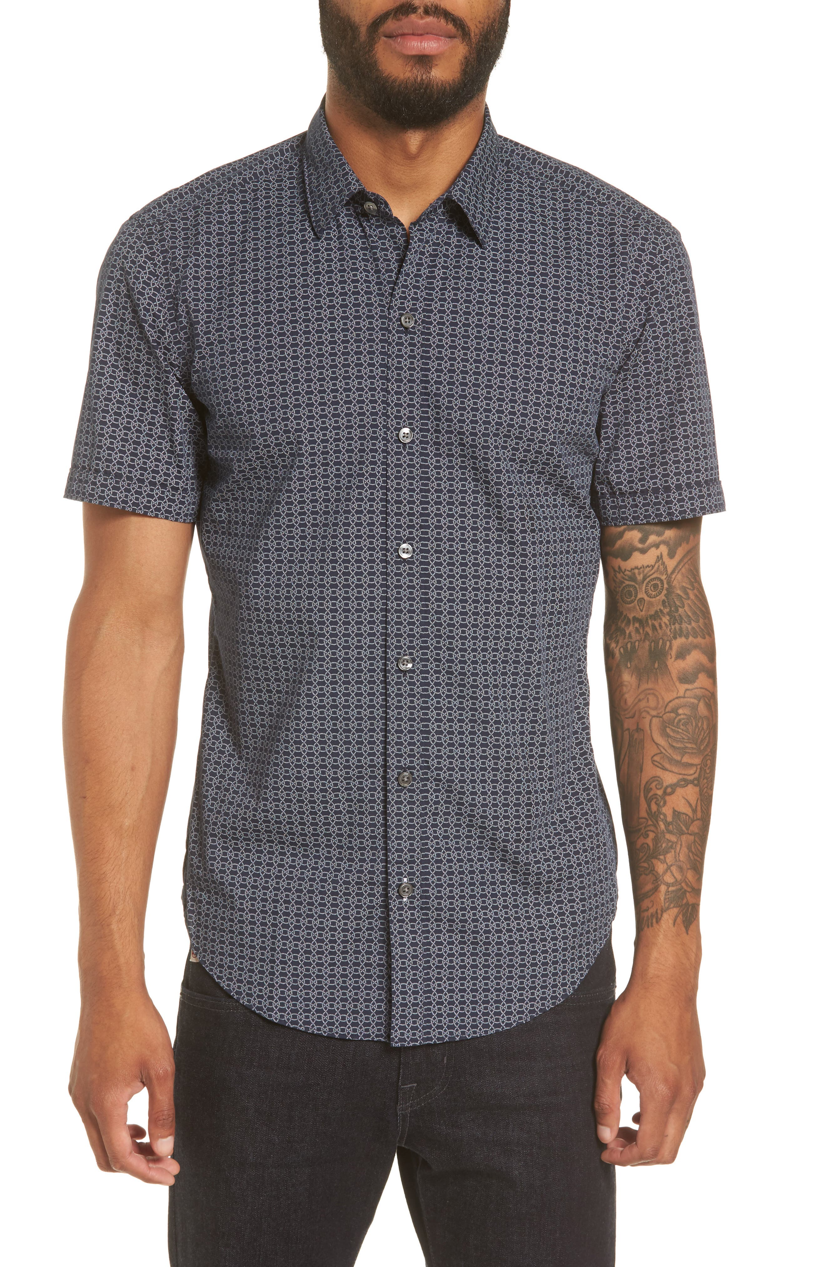 Robb Sharp Fit Knot Print Sport Shirt,                         Main,                         color, Navy