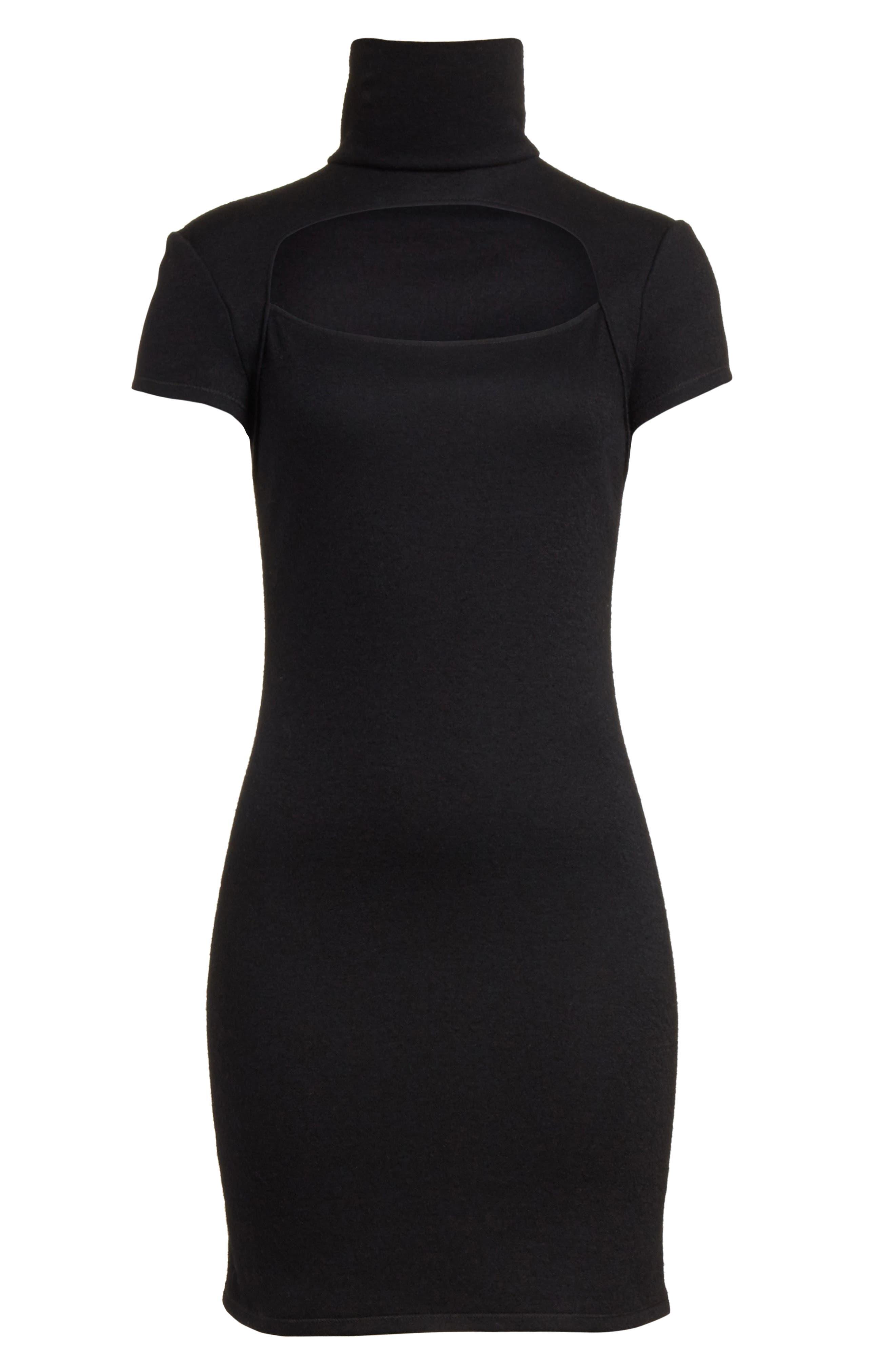 Cutout Wool Blend Dress,                             Alternate thumbnail 6, color,                             Black