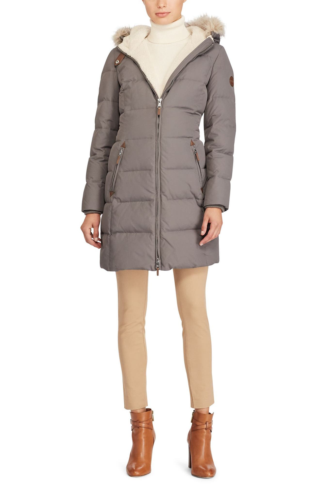 Alternate Image 2  - Lauren Ralph Lauren Quilted Parka (Regular & Petite)