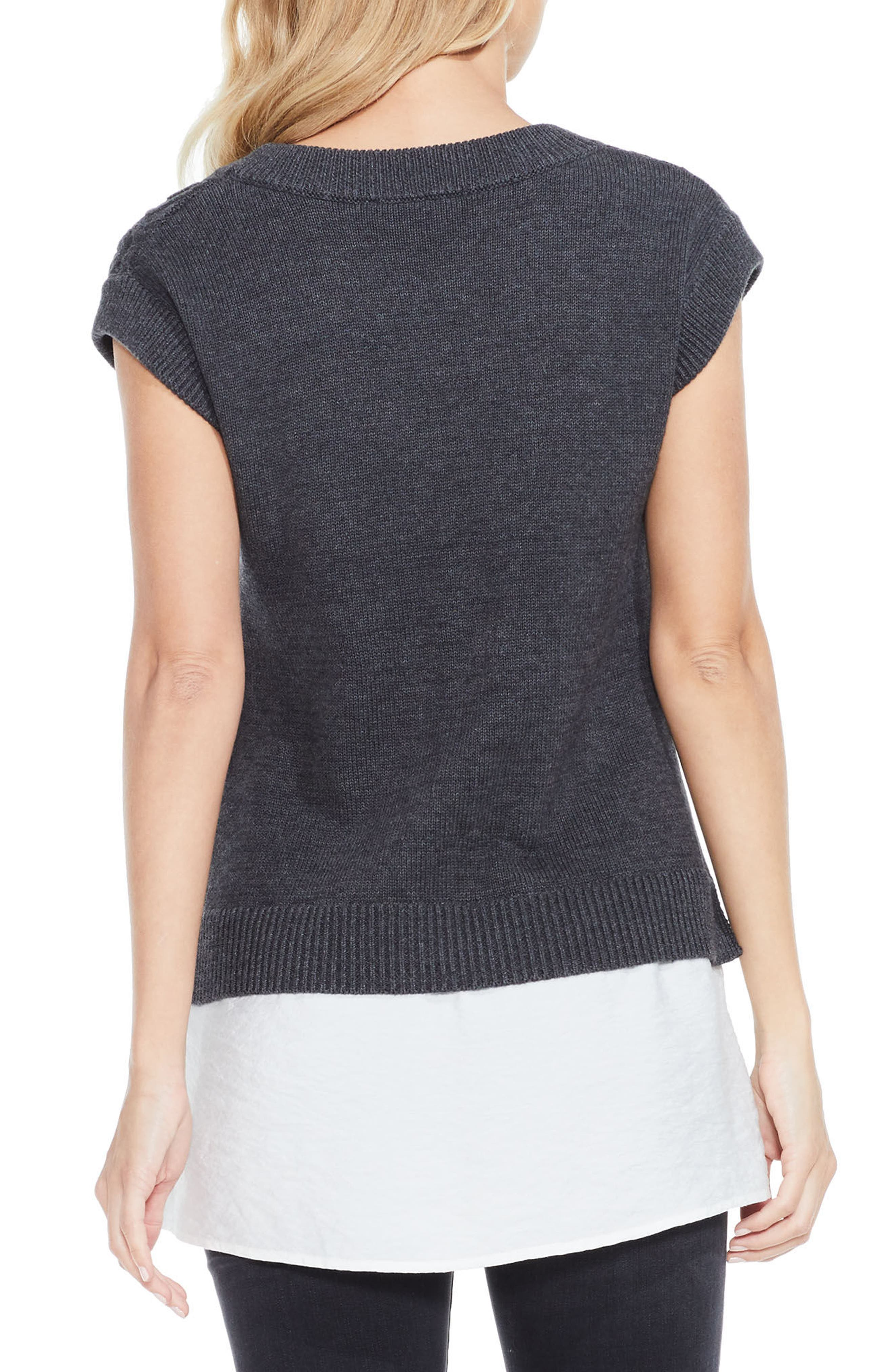 Layered Look Cable Sweater,                             Alternate thumbnail 2, color,                             Medium Heather Grey