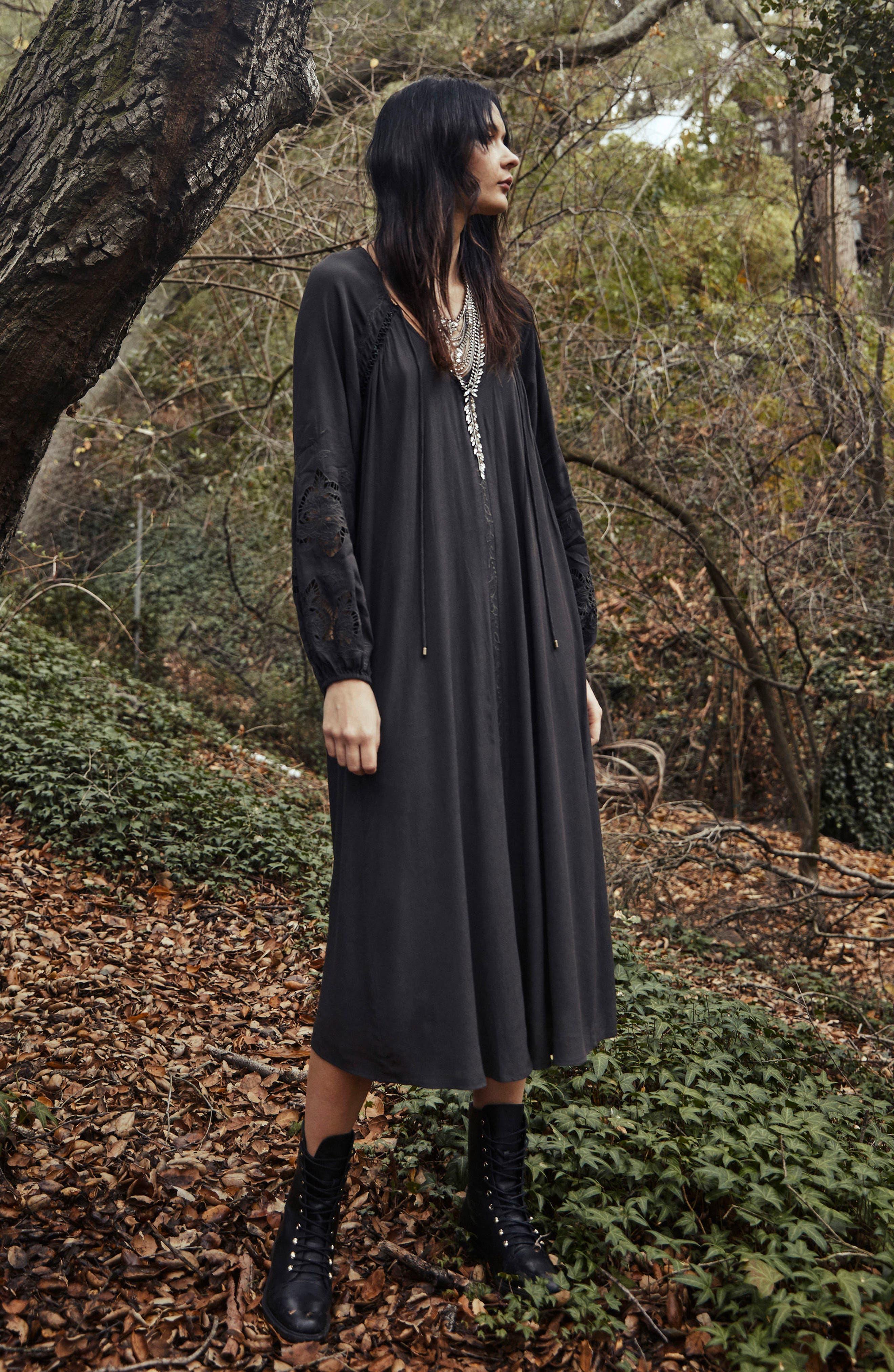 Ava Crochet Detail Dress,                             Alternate thumbnail 3, color,                             Dark Slate