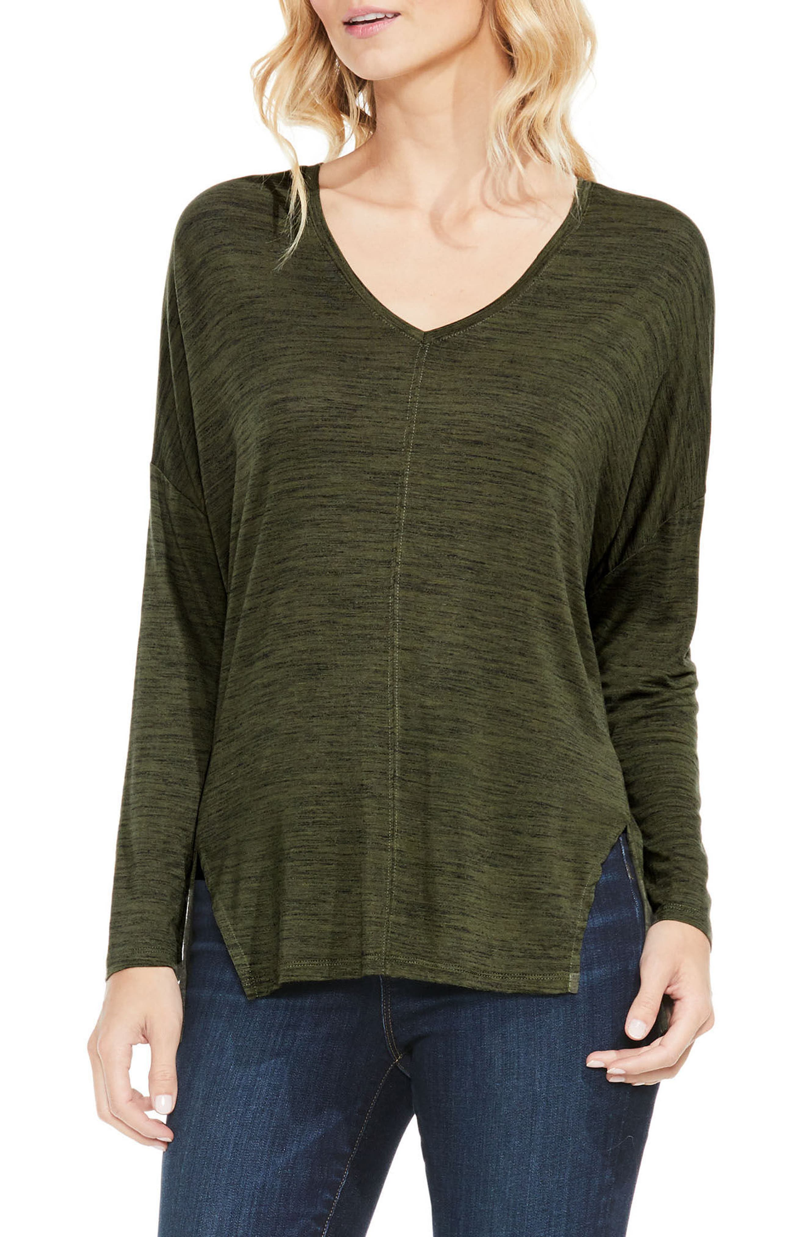 Space Dyed V-Neck Top,                         Main,                         color, Military Green