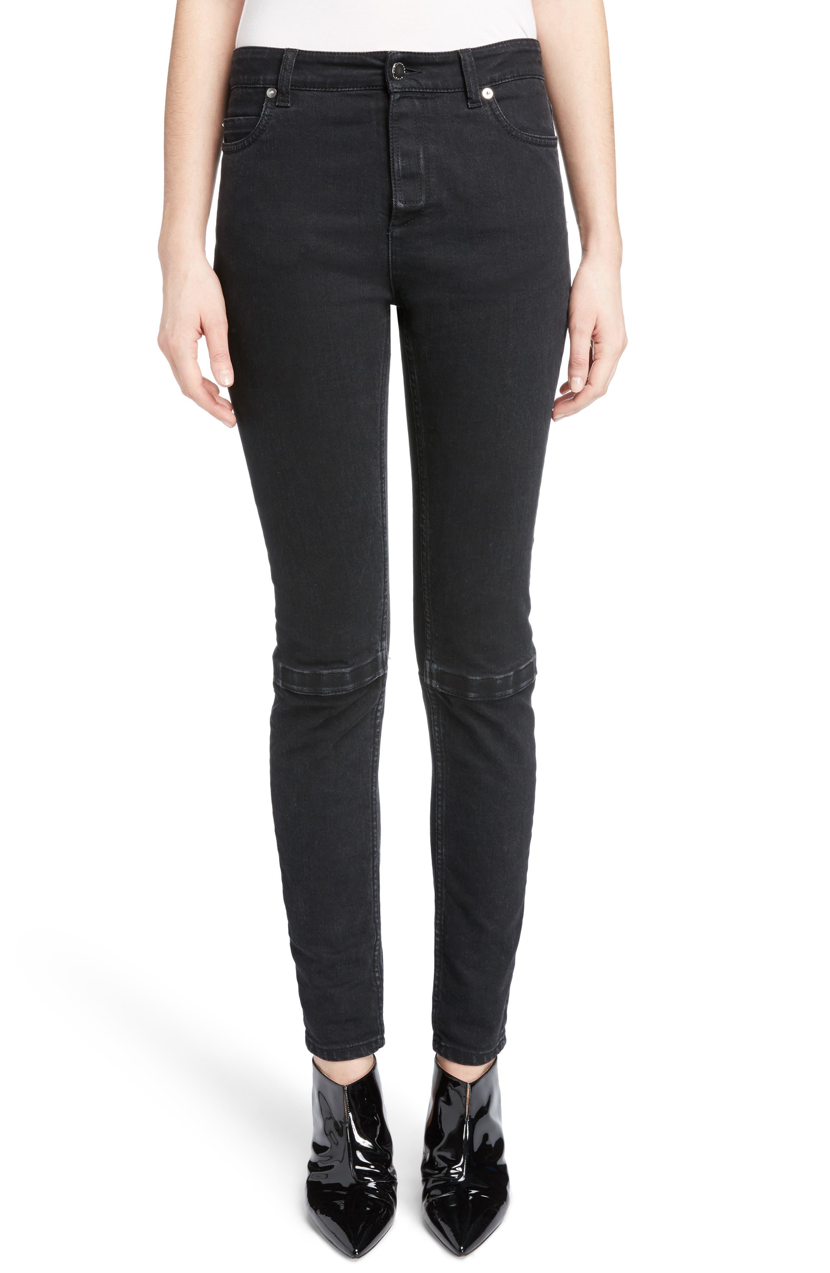 Hook & Loop Fly Skinny Jeans,                             Main thumbnail 1, color,                             Black