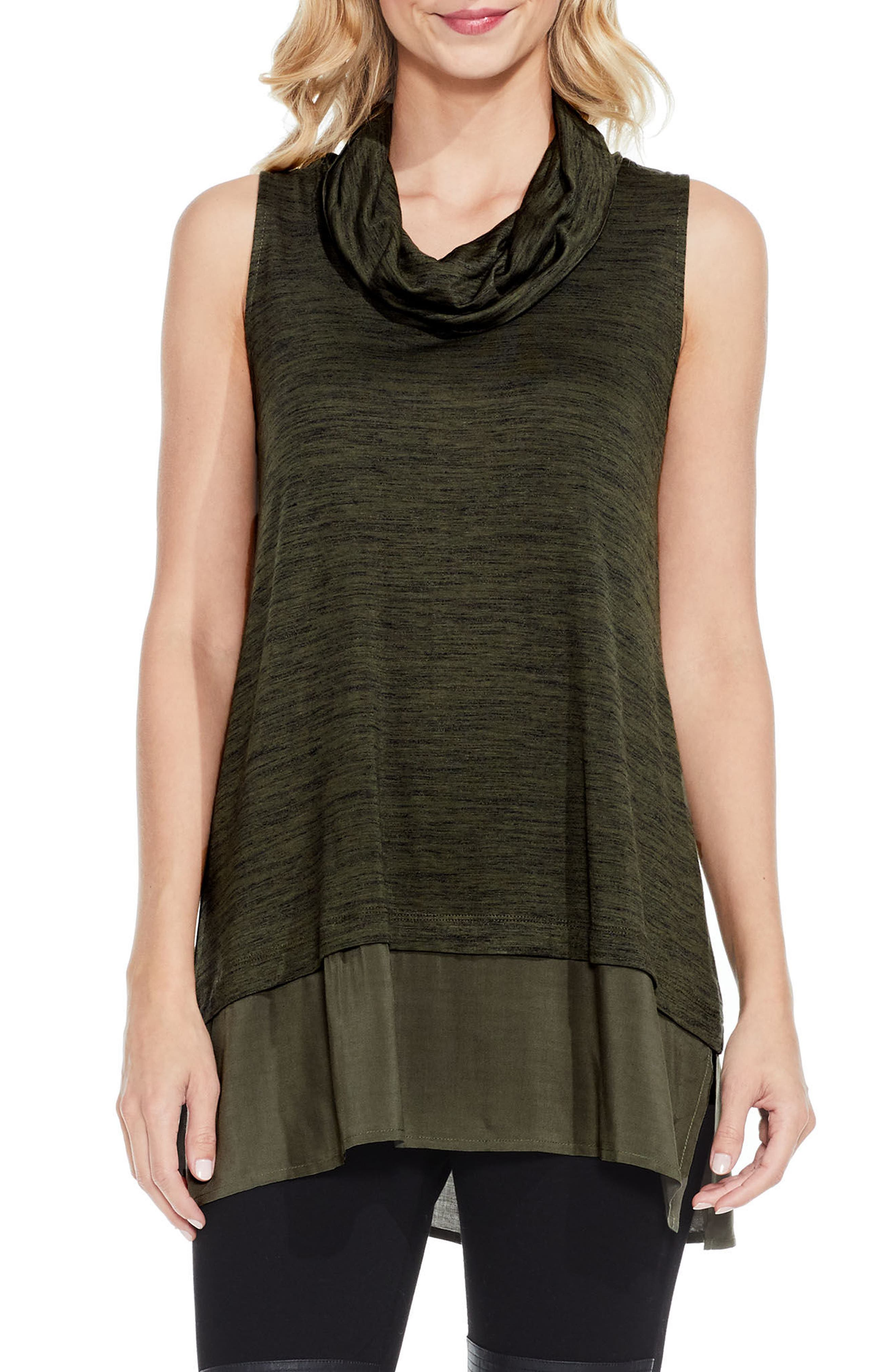 Alternate Image 1 Selected - Two by Vince Camuto Woven Hem Tunic (Regular & Petite)
