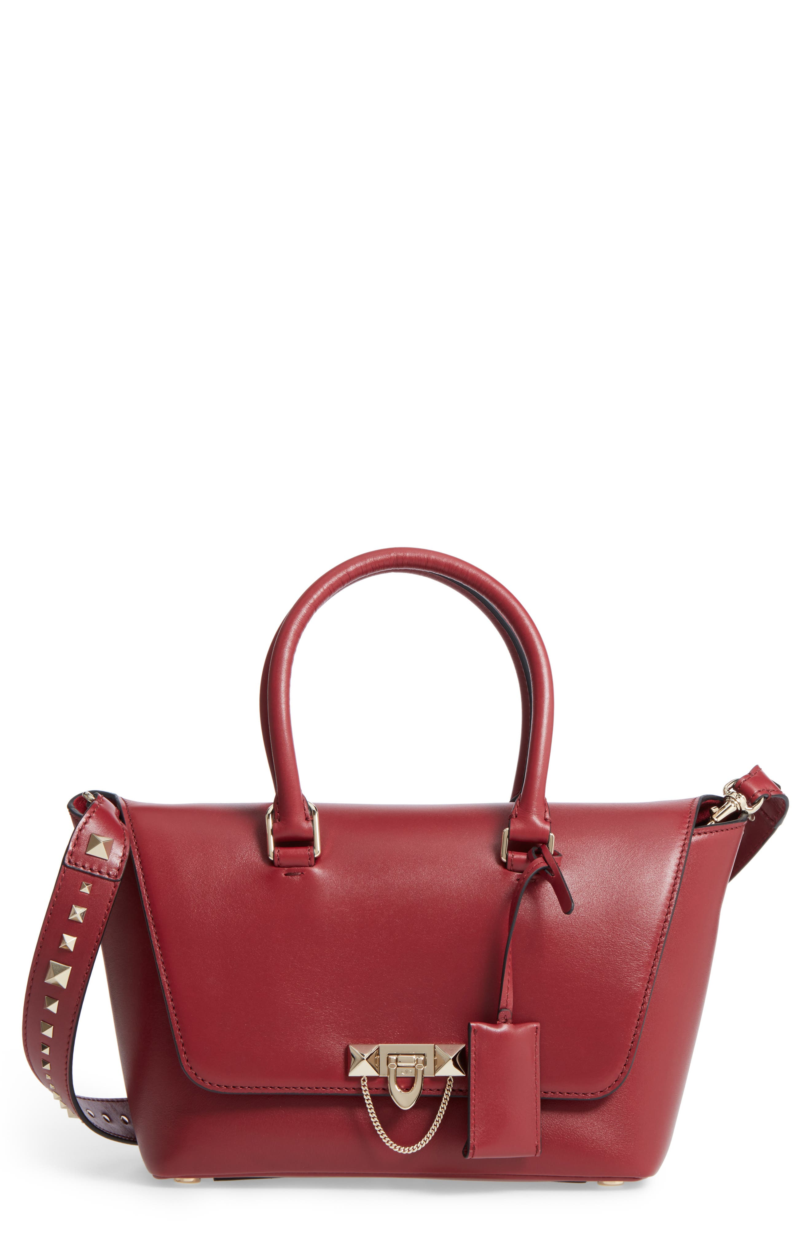 Small Double Handle Demi Moon Leather Satchel,                         Main,                         color, Rosso