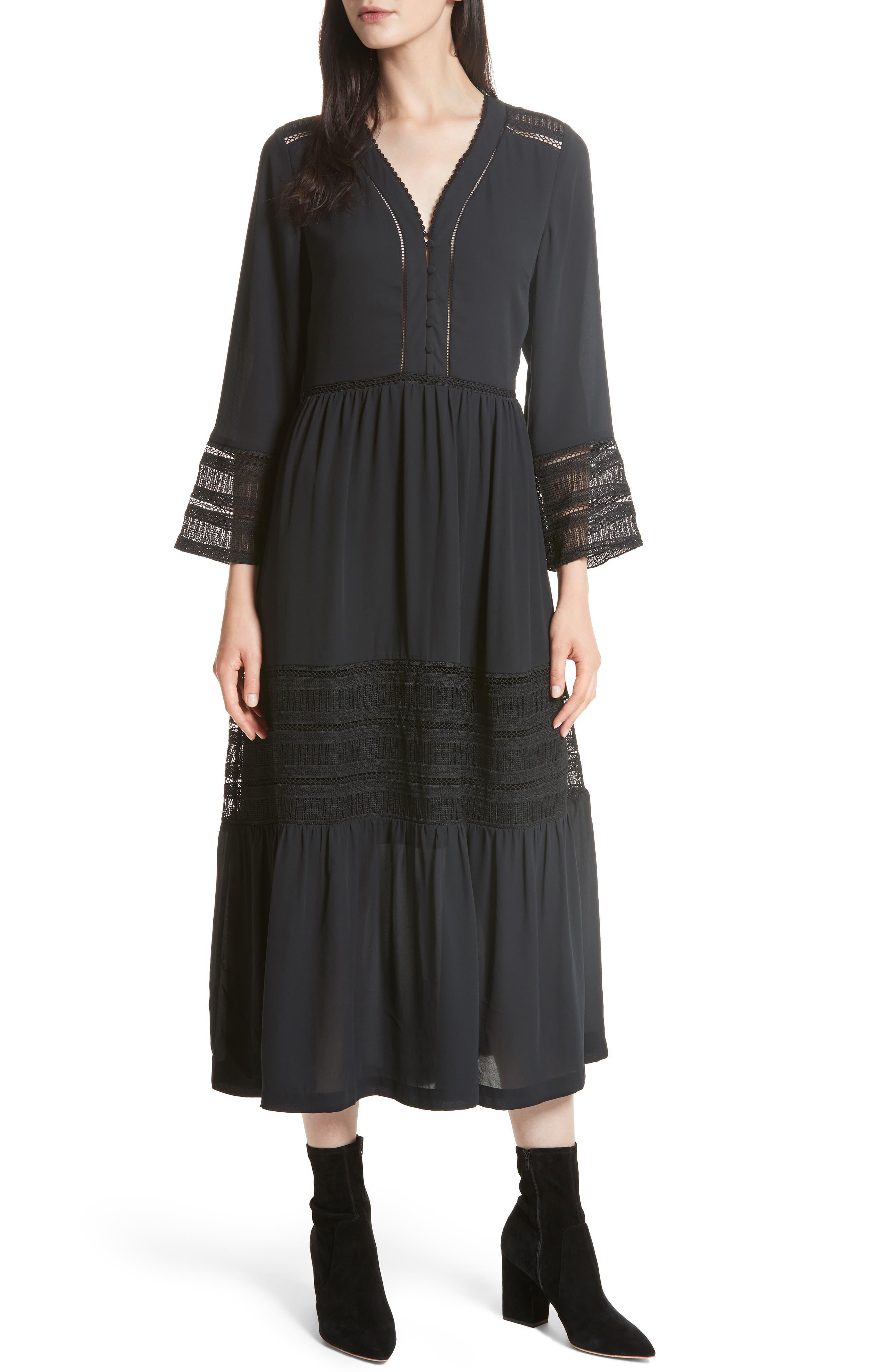 Daphne A-Line Dress,                             Main thumbnail 1, color,                             Black