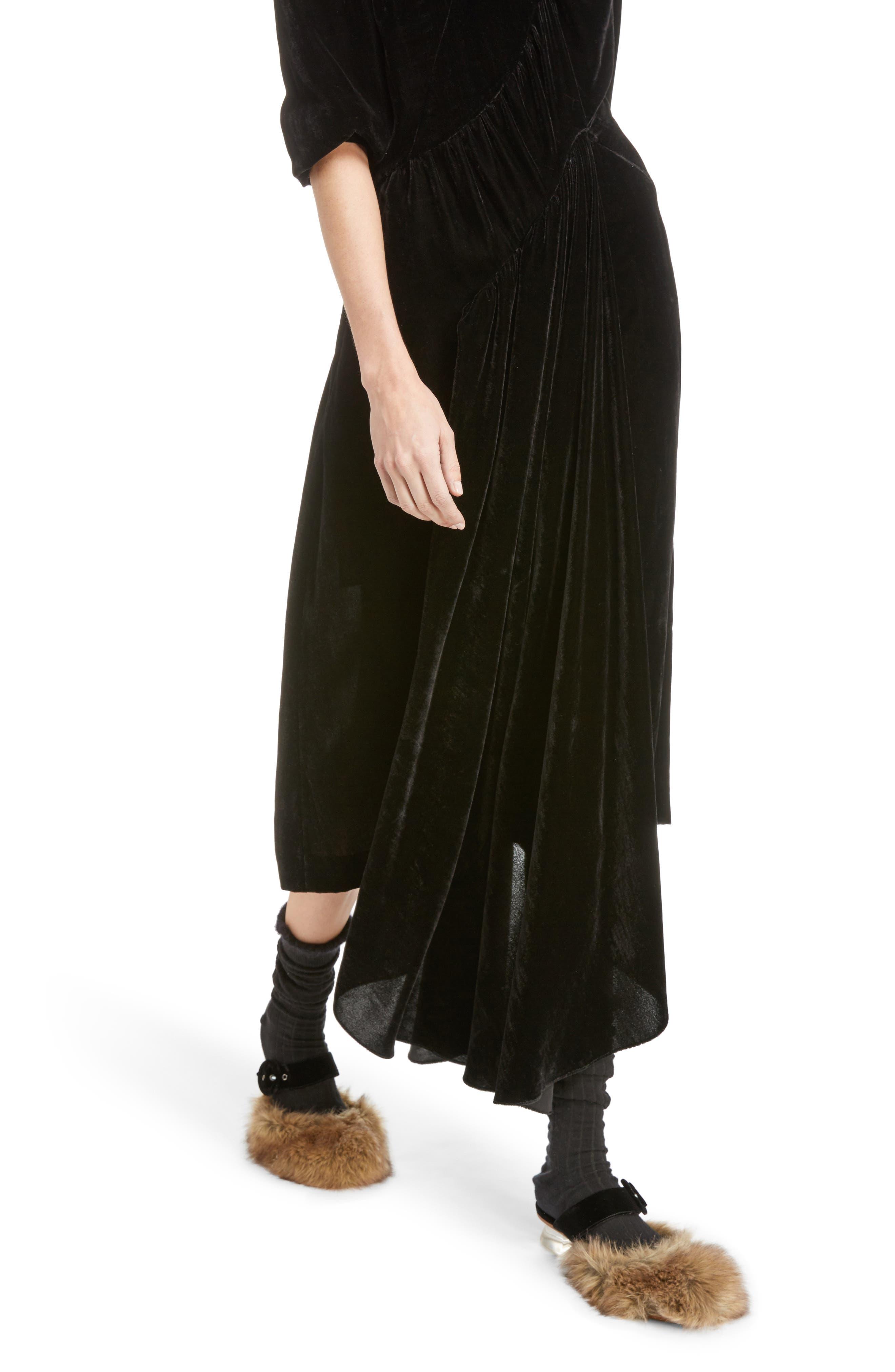 Asymmetrical Velvet Dress with Marabou Trim,                             Alternate thumbnail 5, color,                             Black