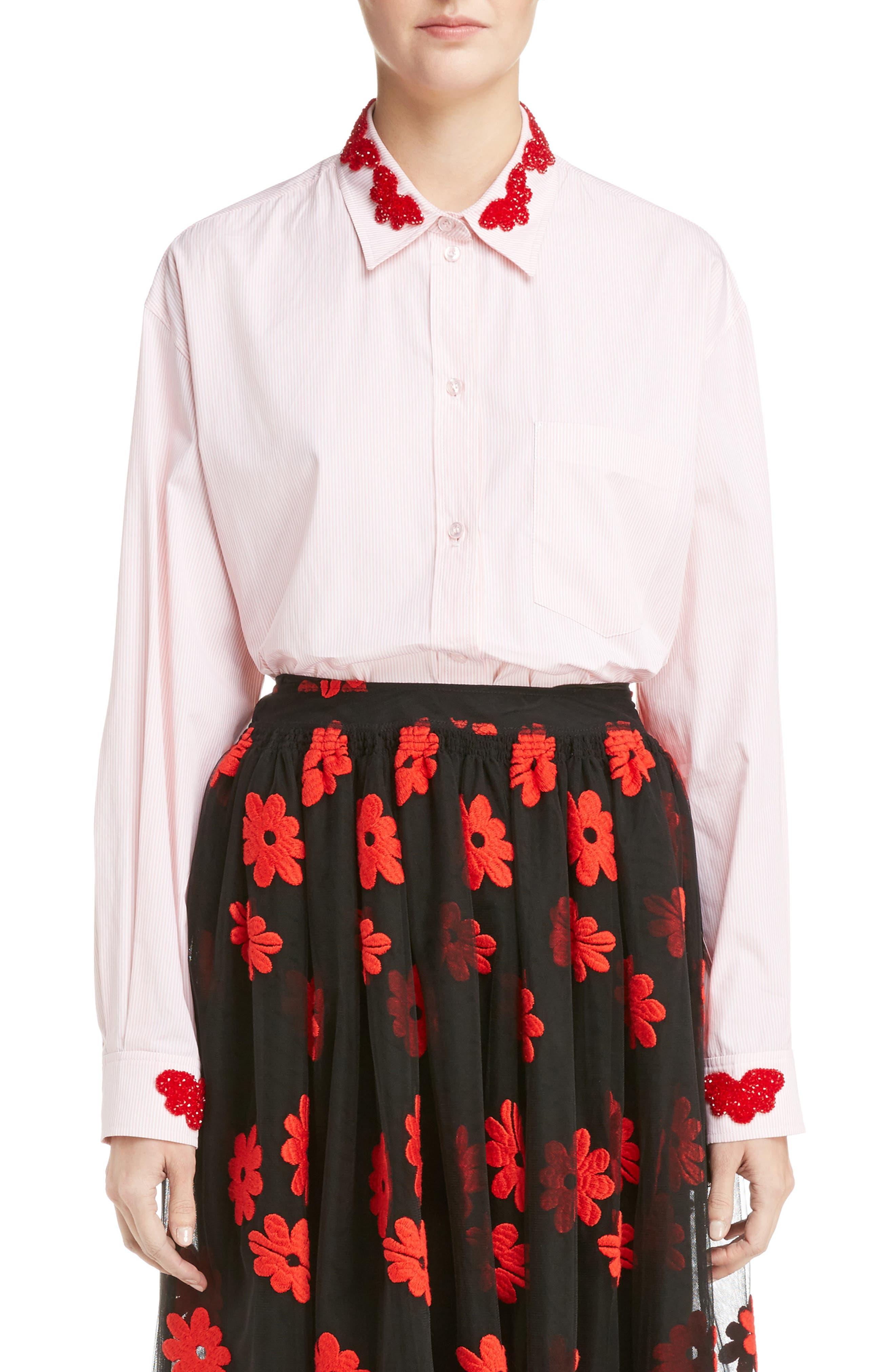 Main Image - Simone Rocha Beaded Pinstripe Shirt