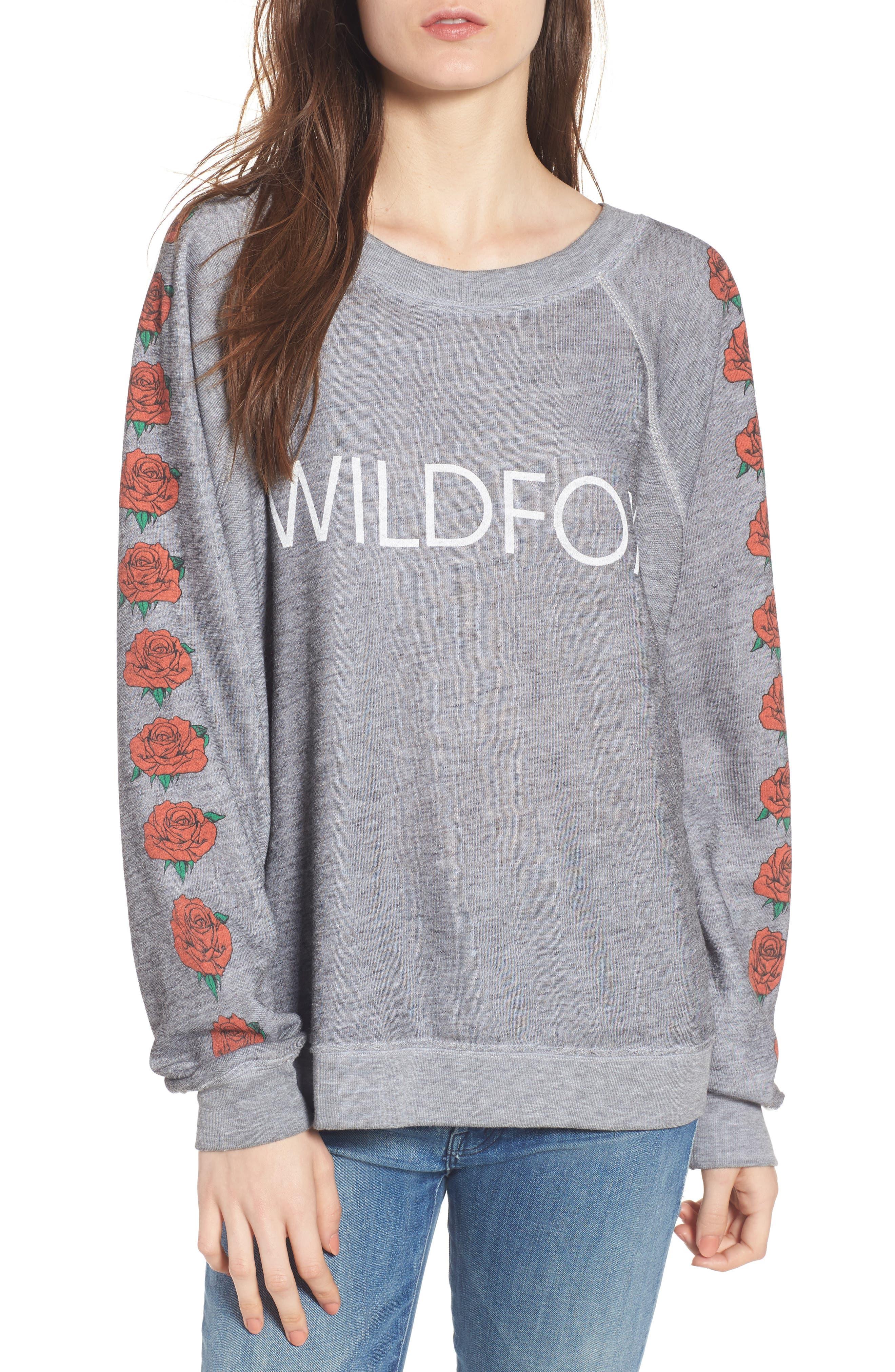 Bouquet Thrashed Sweatshirt,                         Main,                         color, Heather Burnout