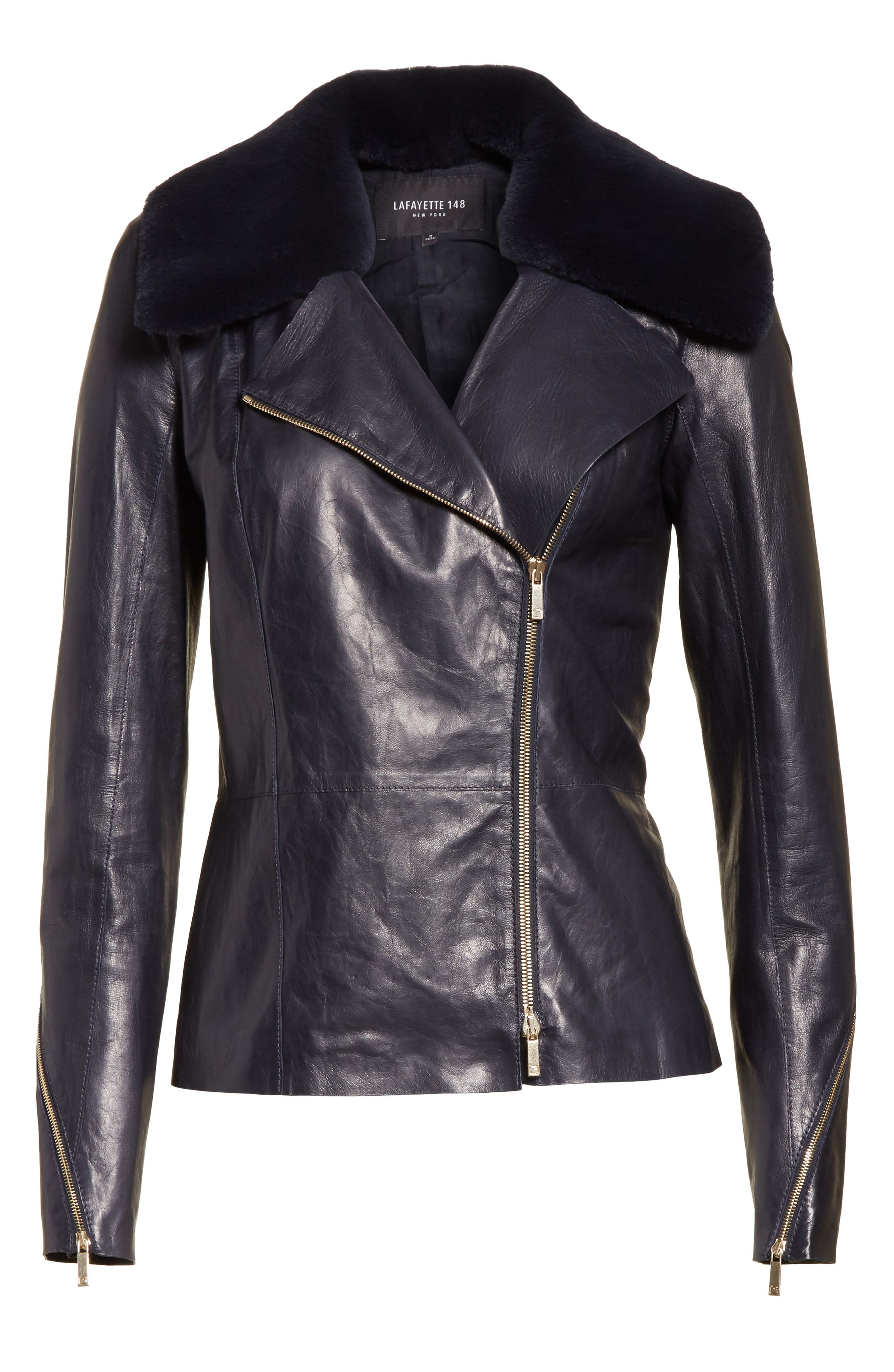 Kimbry Leather Jacket with Removable Genuine Rex Rabbit Fur Collar,                             Alternate thumbnail 7, color,                             Ink