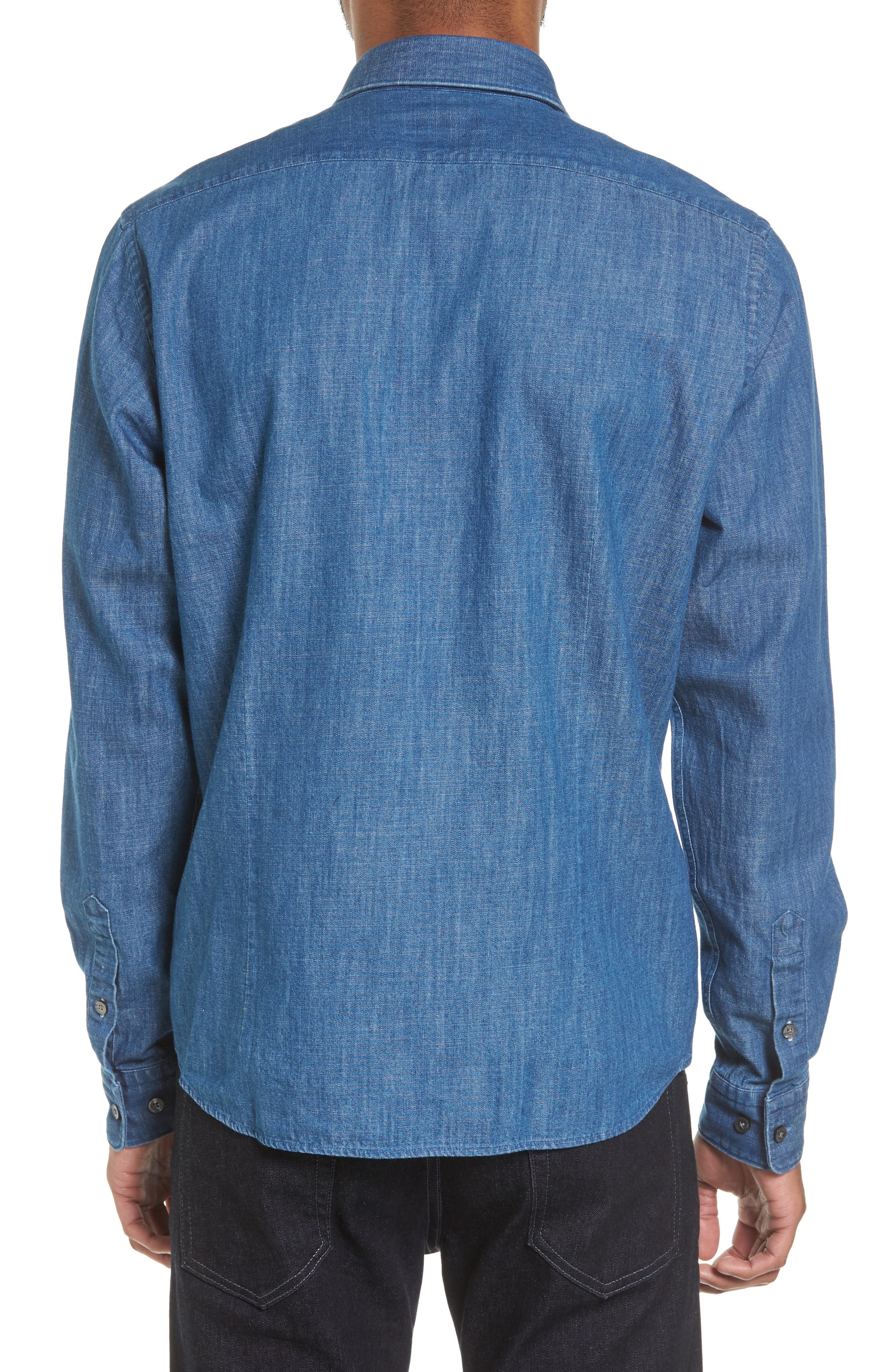 Alternate Image 2  - BOSS Lance Regular Fit Two-Pocket Denim Sport Shirt