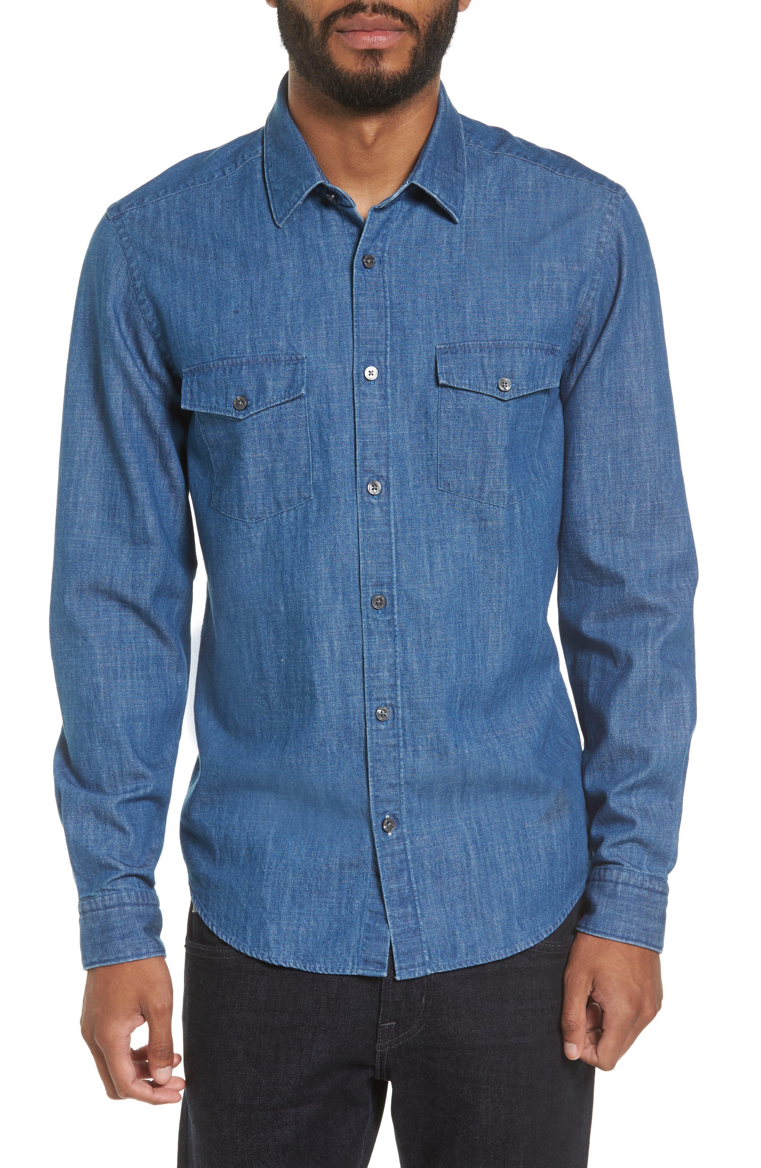 Lance Regular Fit Two-Pocket Denim Sport Shirt,                             Main thumbnail 1, color,                             Blue