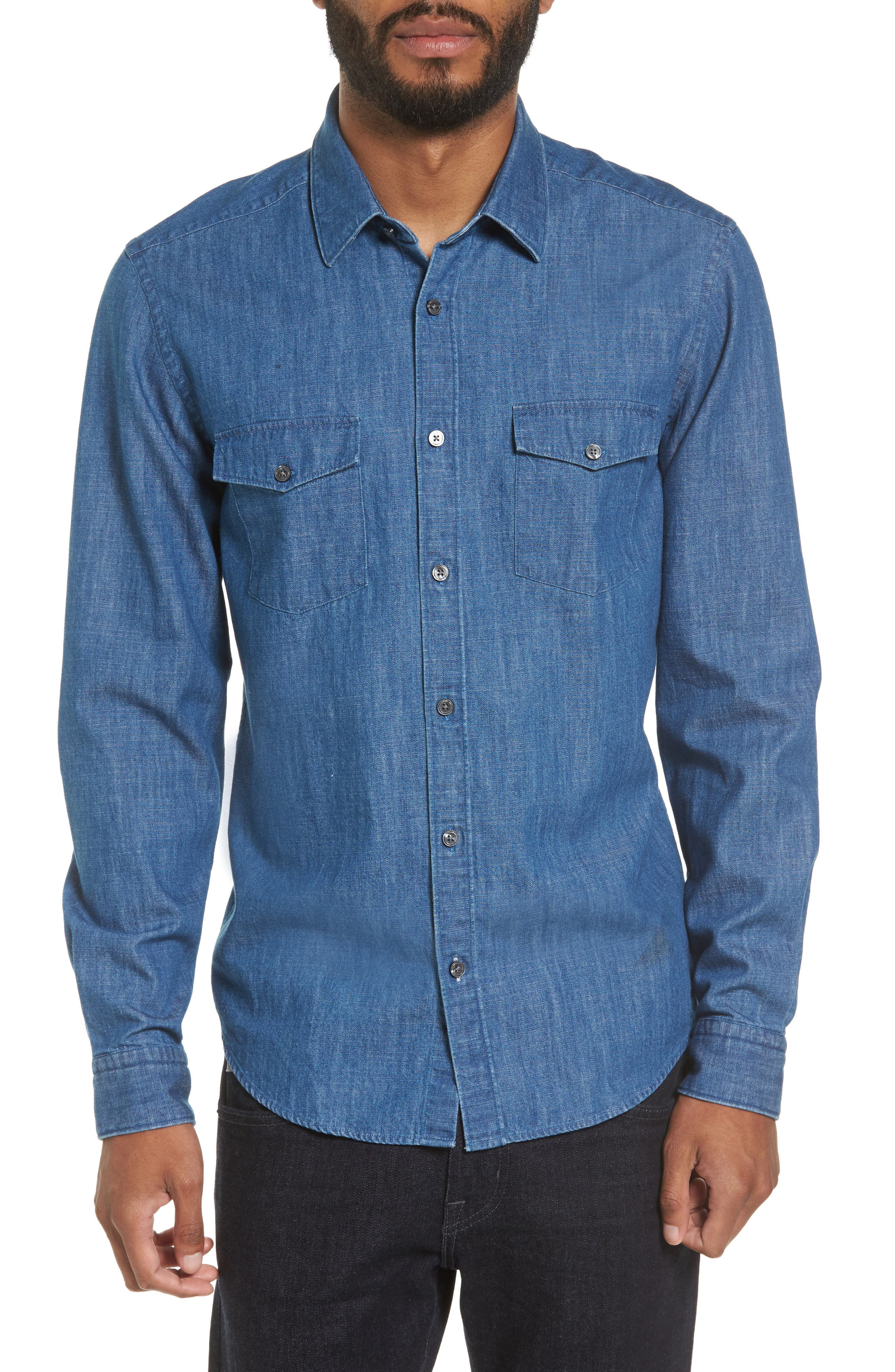 Lance Regular Fit Two-Pocket Denim Sport Shirt,                         Main,                         color, Blue