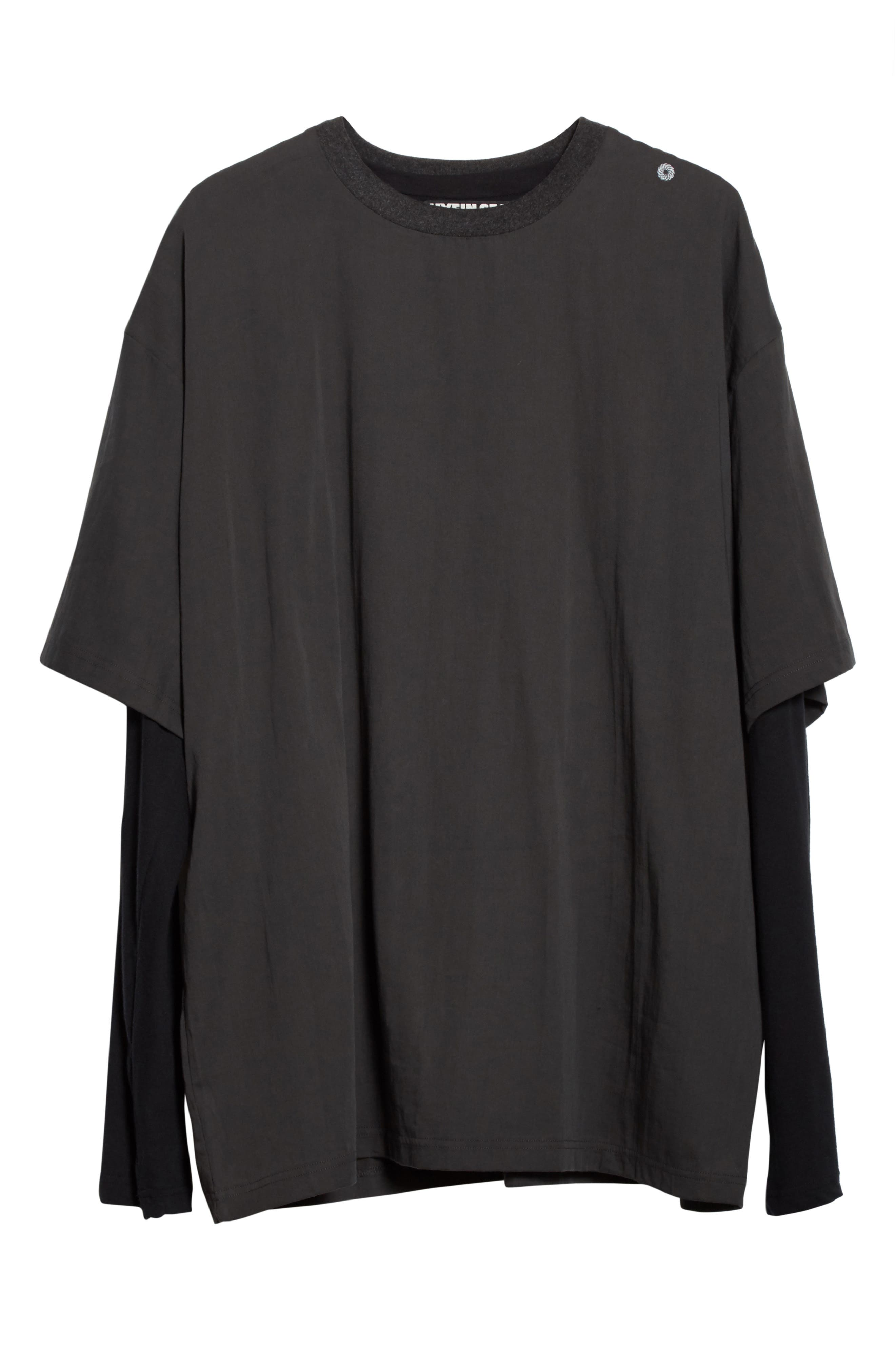 Layered Oversize Tee,                             Alternate thumbnail 7, color,                             Black