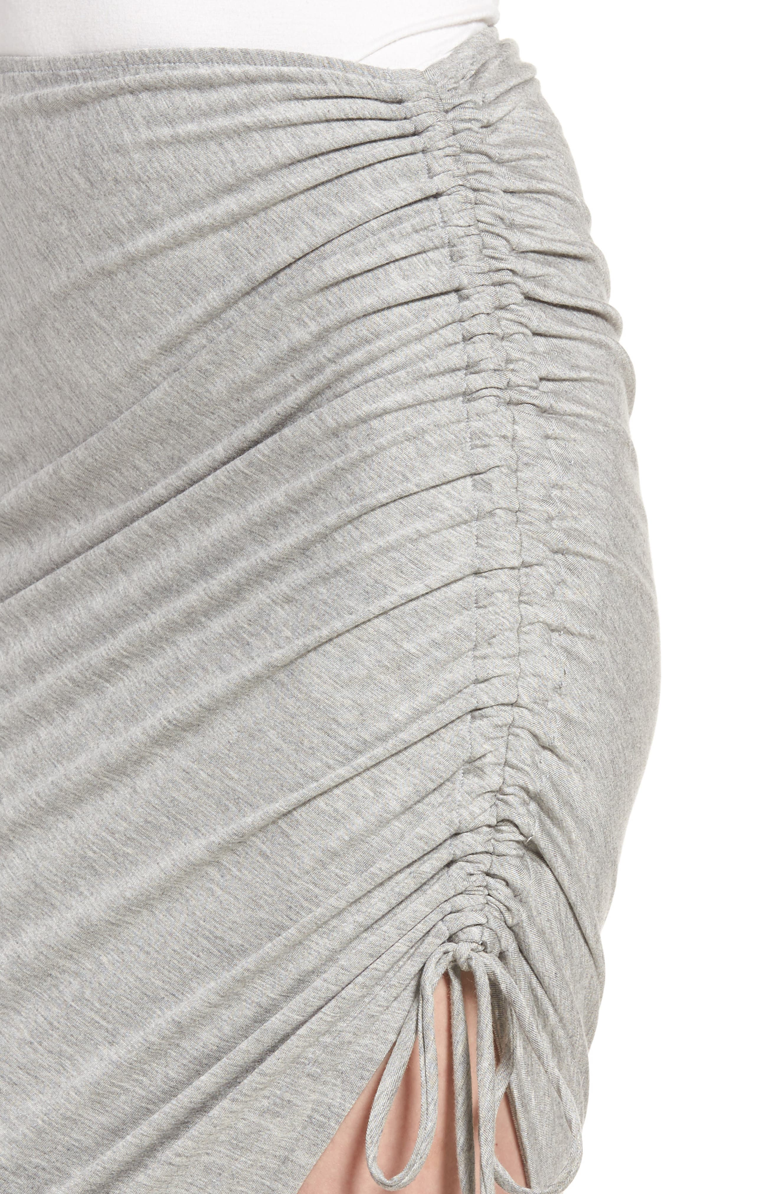 Zoe Ruched Knit Skirt,                             Alternate thumbnail 4, color,                             Heather Grey