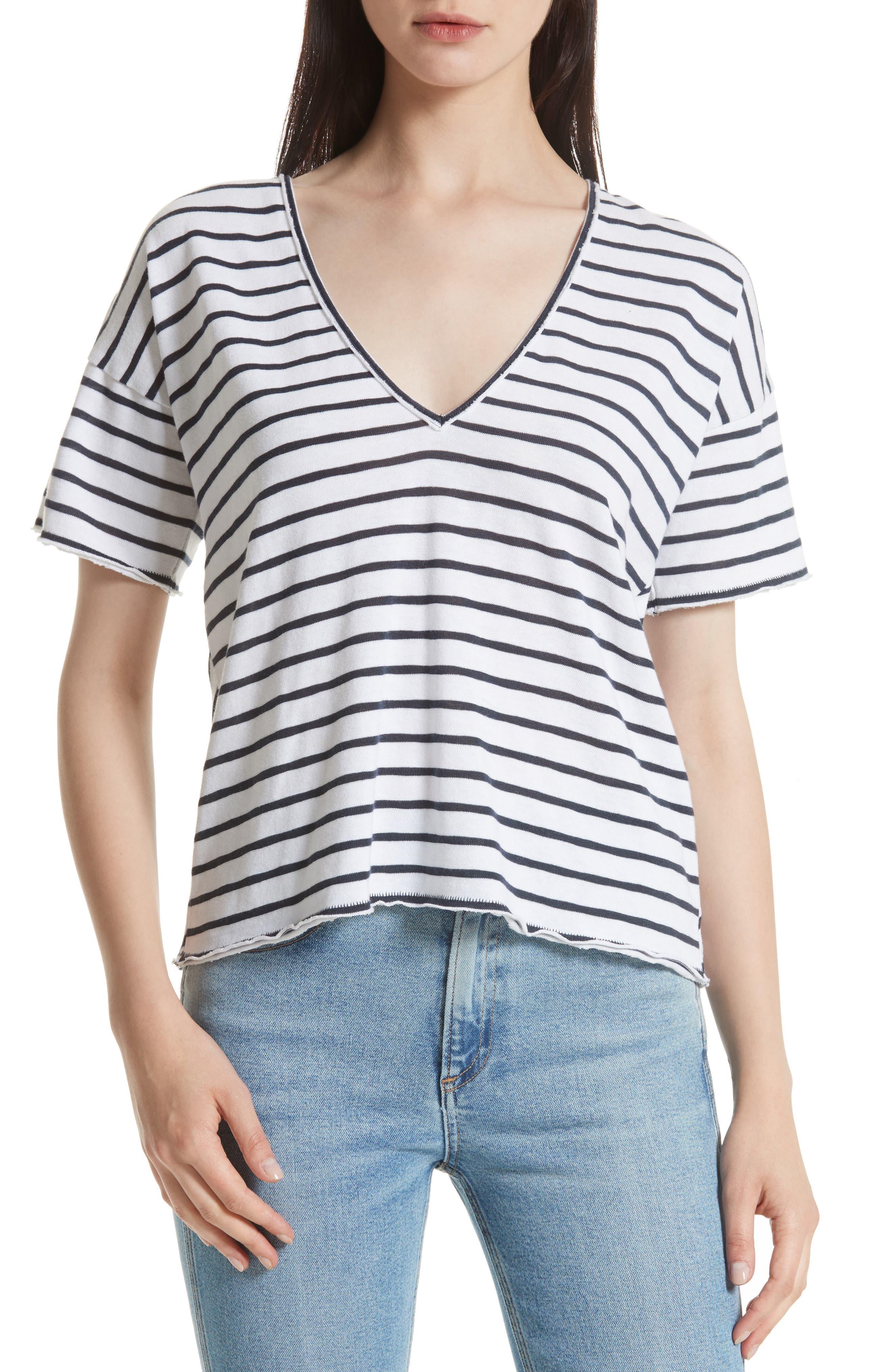 Dakota Stripe Tee,                         Main,                         color, Navy/ White