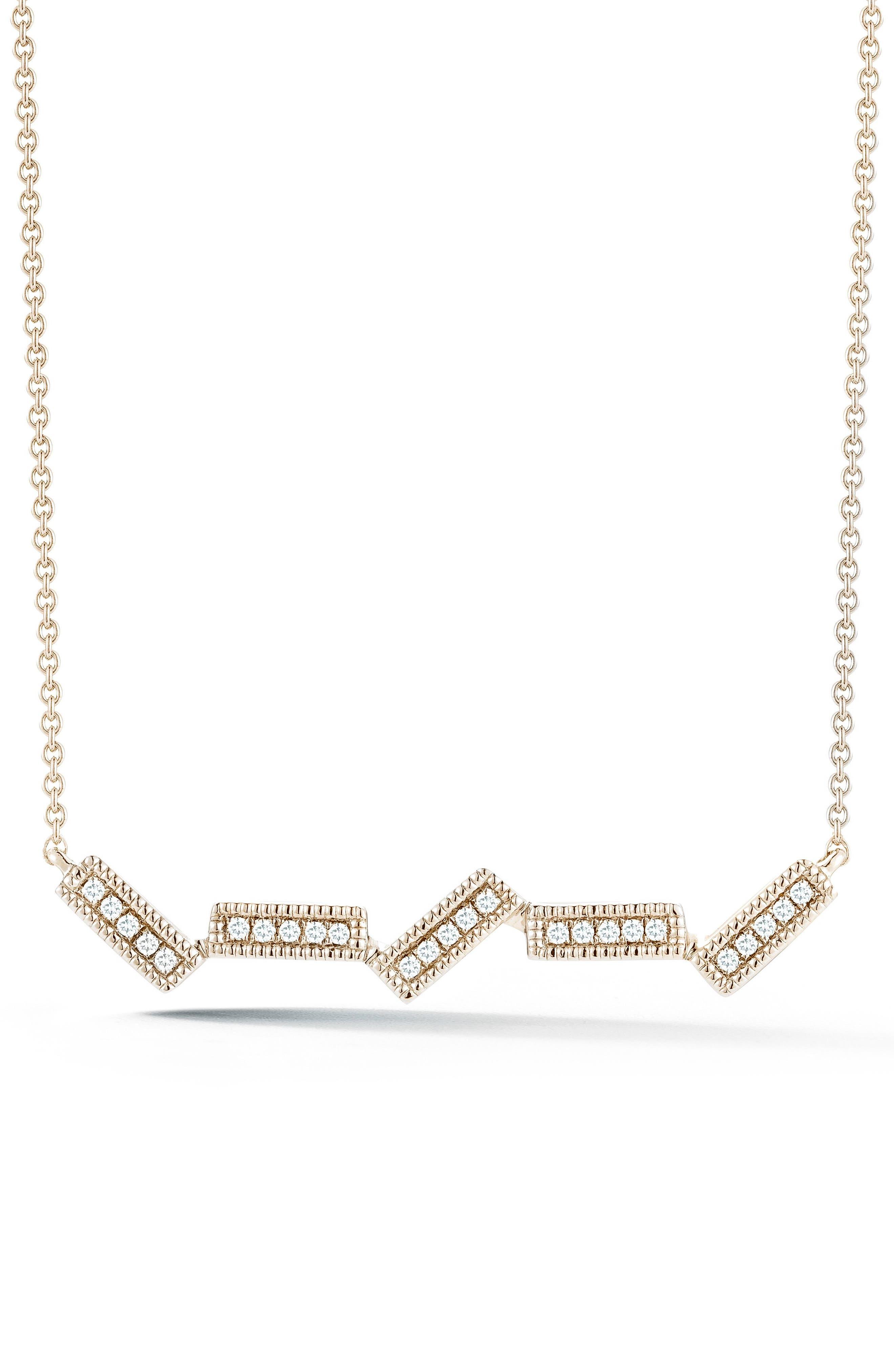 Sylvie Rose Five-Bar Diamond Pendant Necklace,                         Main,                         color, Yellow Gold