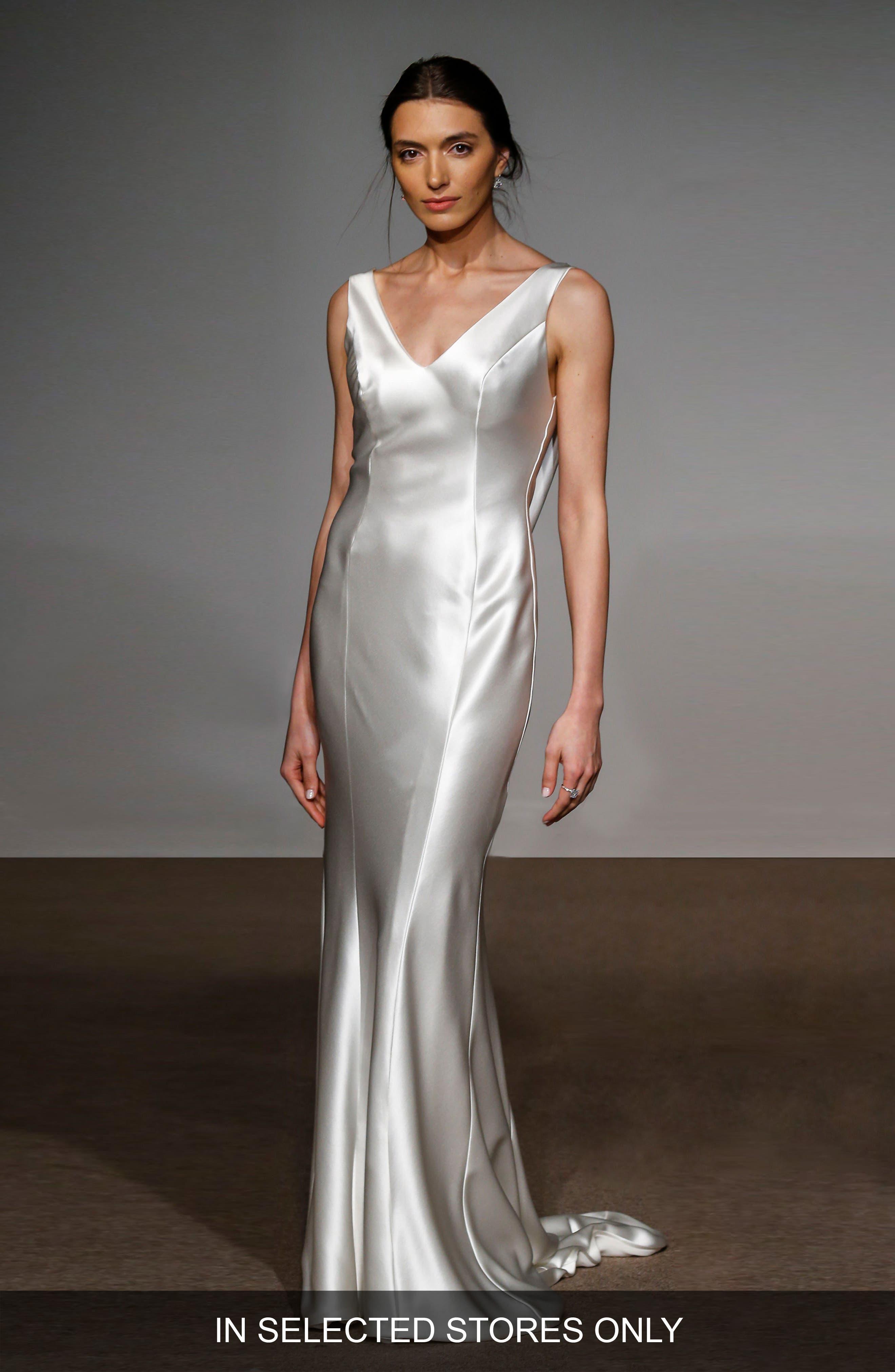 Rita Silk Column Gown,                         Main,                         color, Soft White