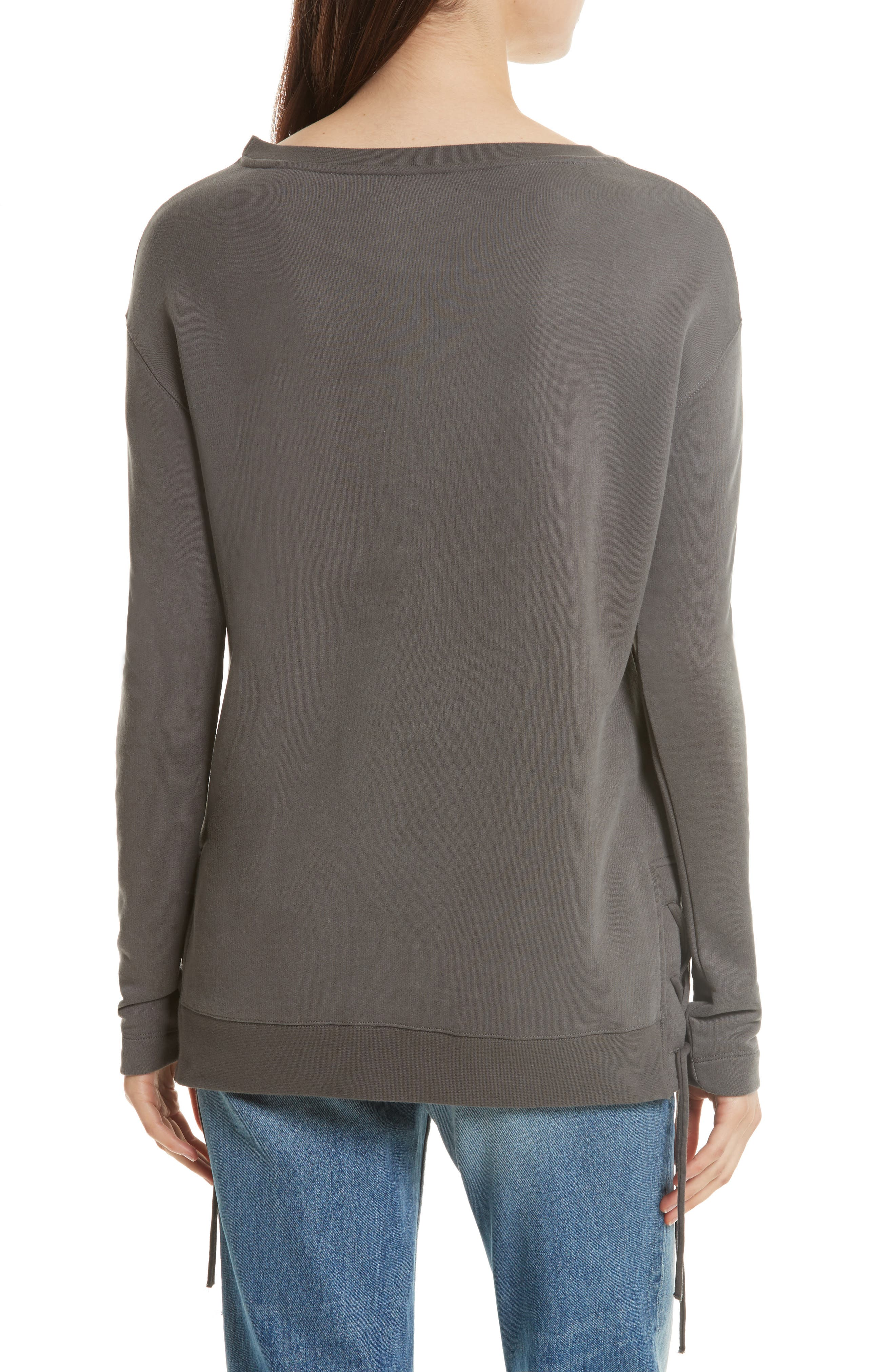 Lace Up Sweater,                             Alternate thumbnail 2, color,                             Caviar