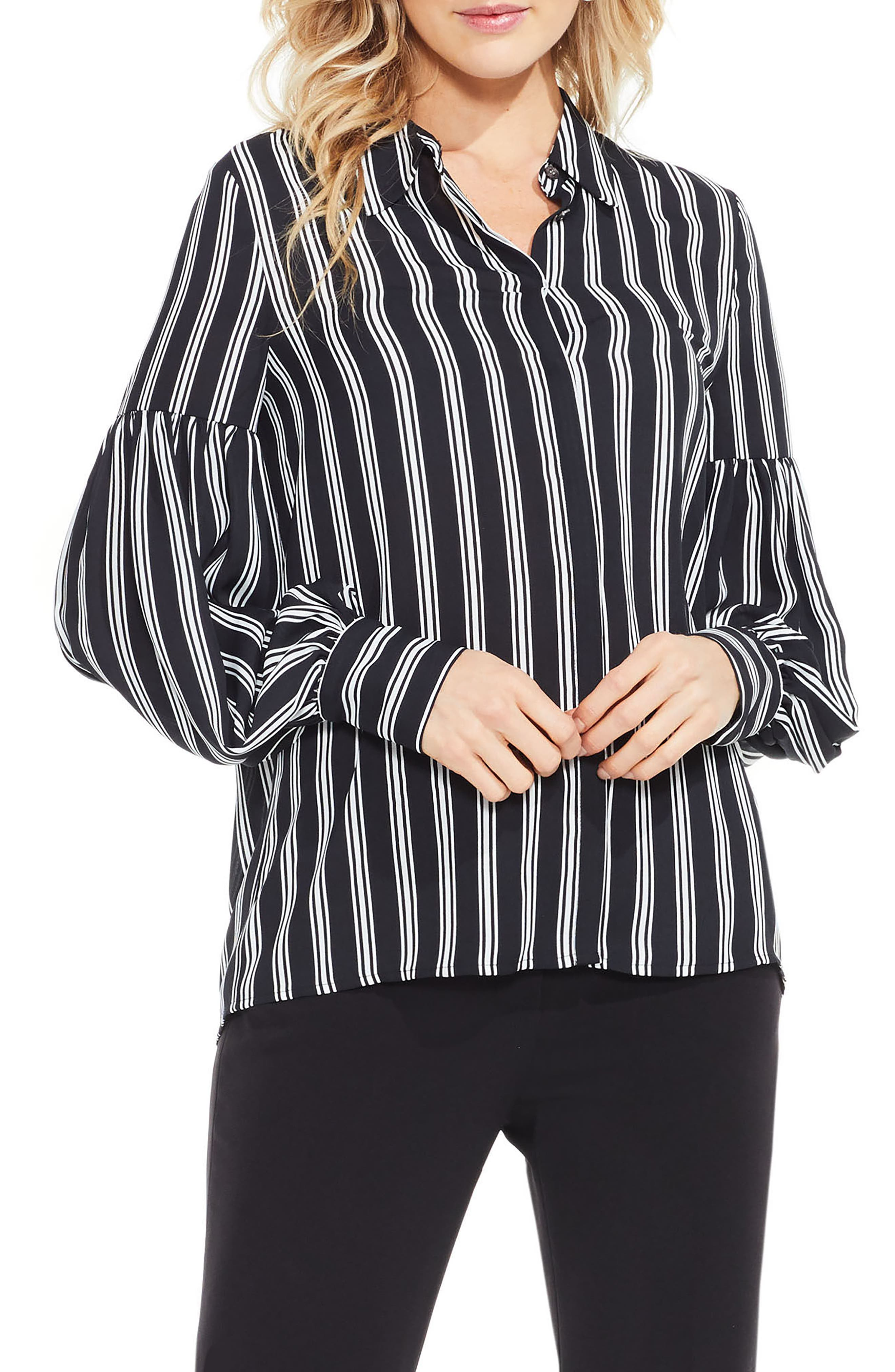 Stripe Puff Sleeve Blouse,                         Main,                         color, Rich Black