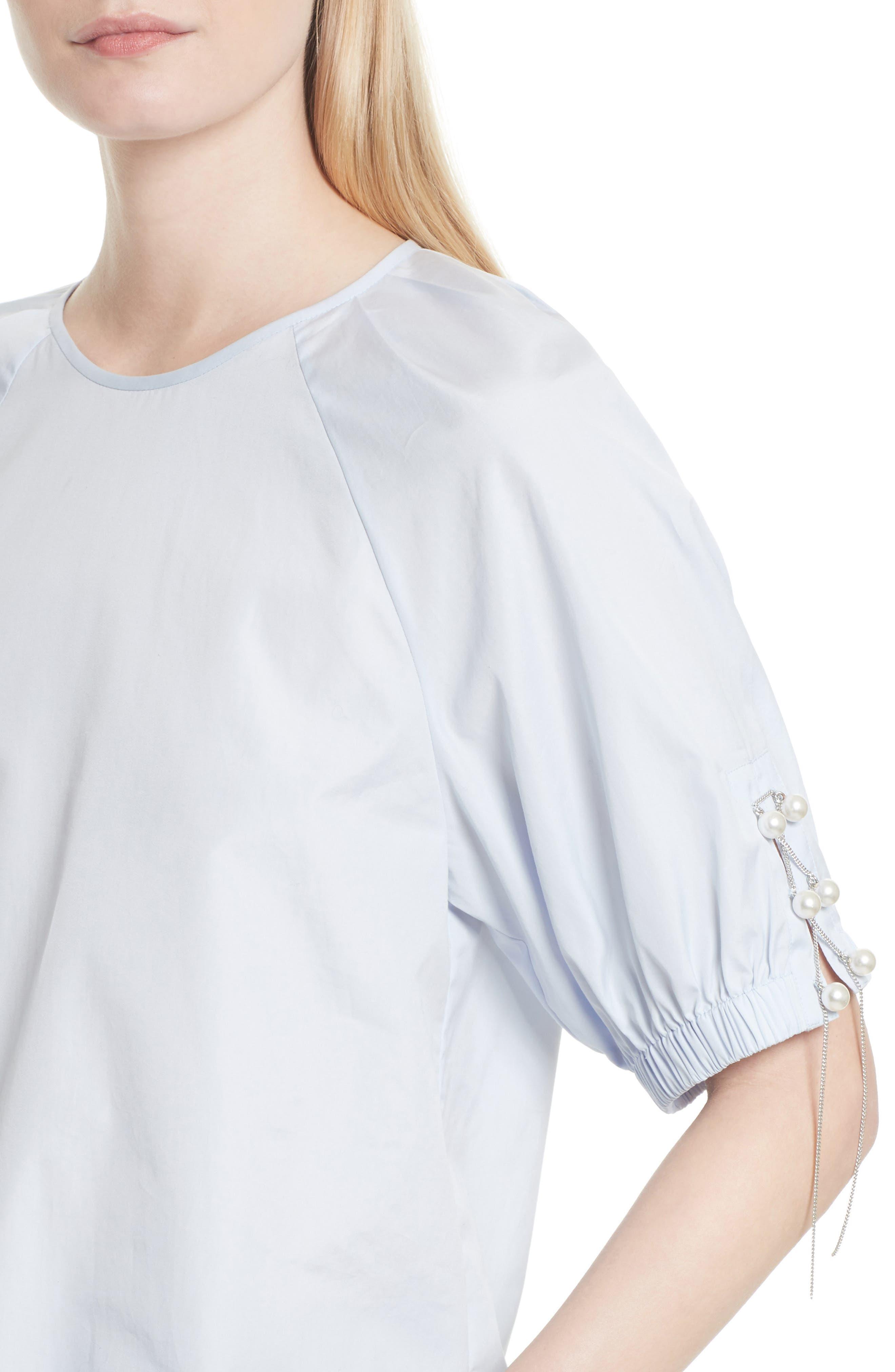 Alternate Image 4  - 3.1 Phillip Lim Faux Pearl & Chain Lacing Cotton Top