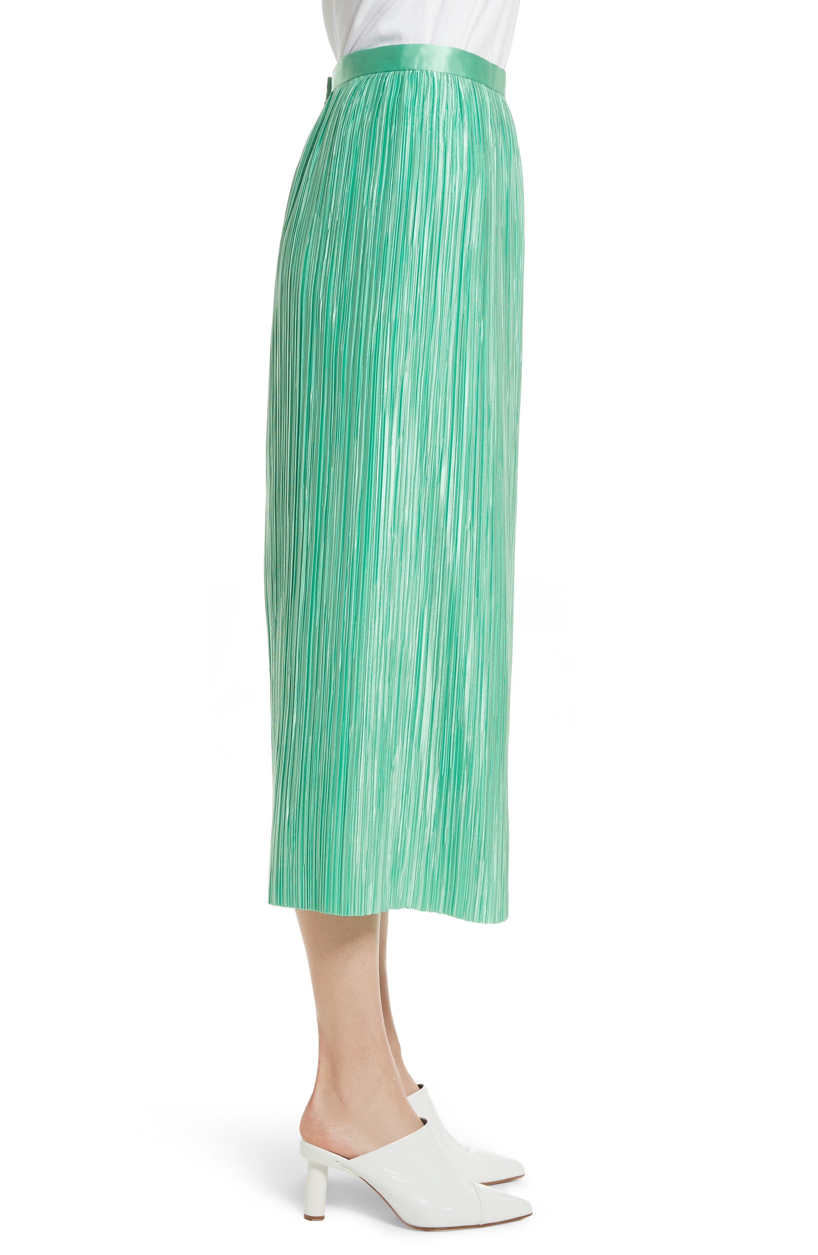 Plissé Pleated Midi Skirt,                             Alternate thumbnail 3, color,                             Kelly Green