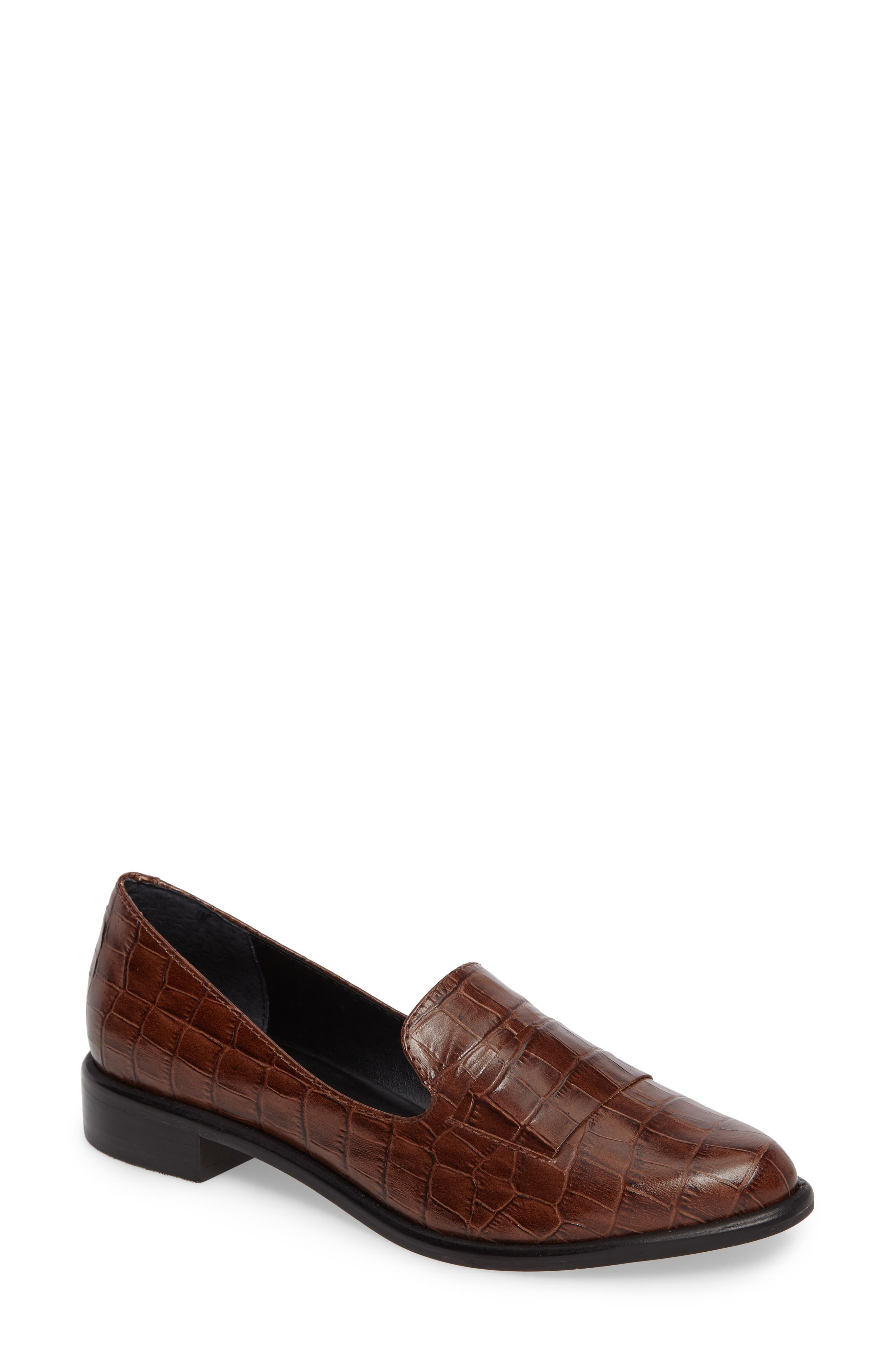 M4D3 'Ocean' Flat Loafer,                         Main,                         color, Whiskey Croc Leather