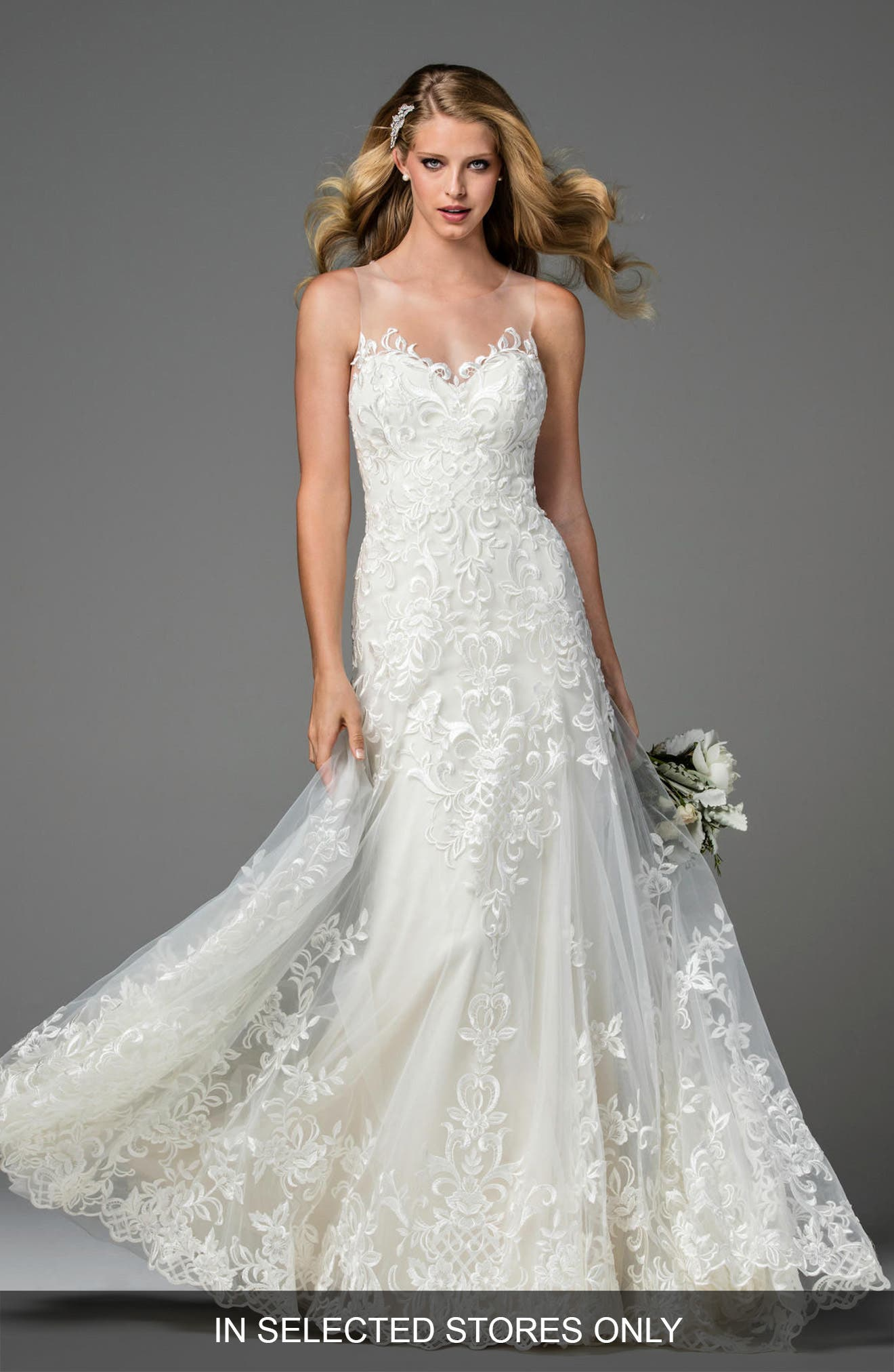 Watters Dame Illusion Neckline Lace A Line Gown