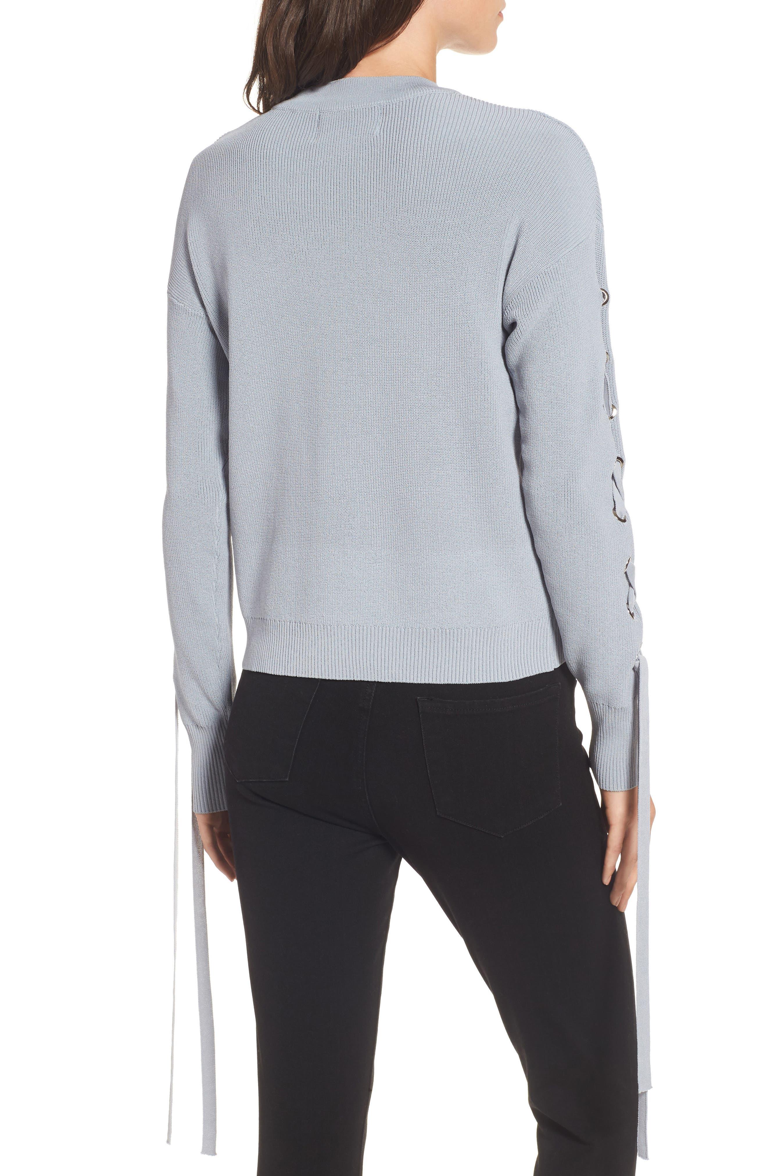 Alternate Image 2  - J.O.A. Lace-Up Sleeve Sweater
