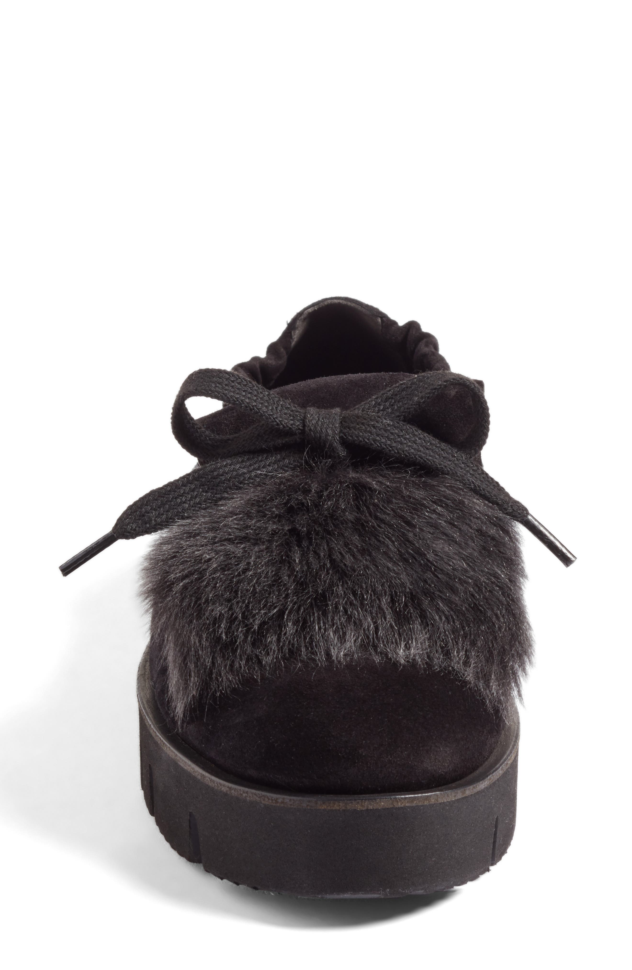 Kennel & Schmenger Malu Suede & Genuine Shearling Slip-On Sneaker,                             Alternate thumbnail 4, color,                             Black