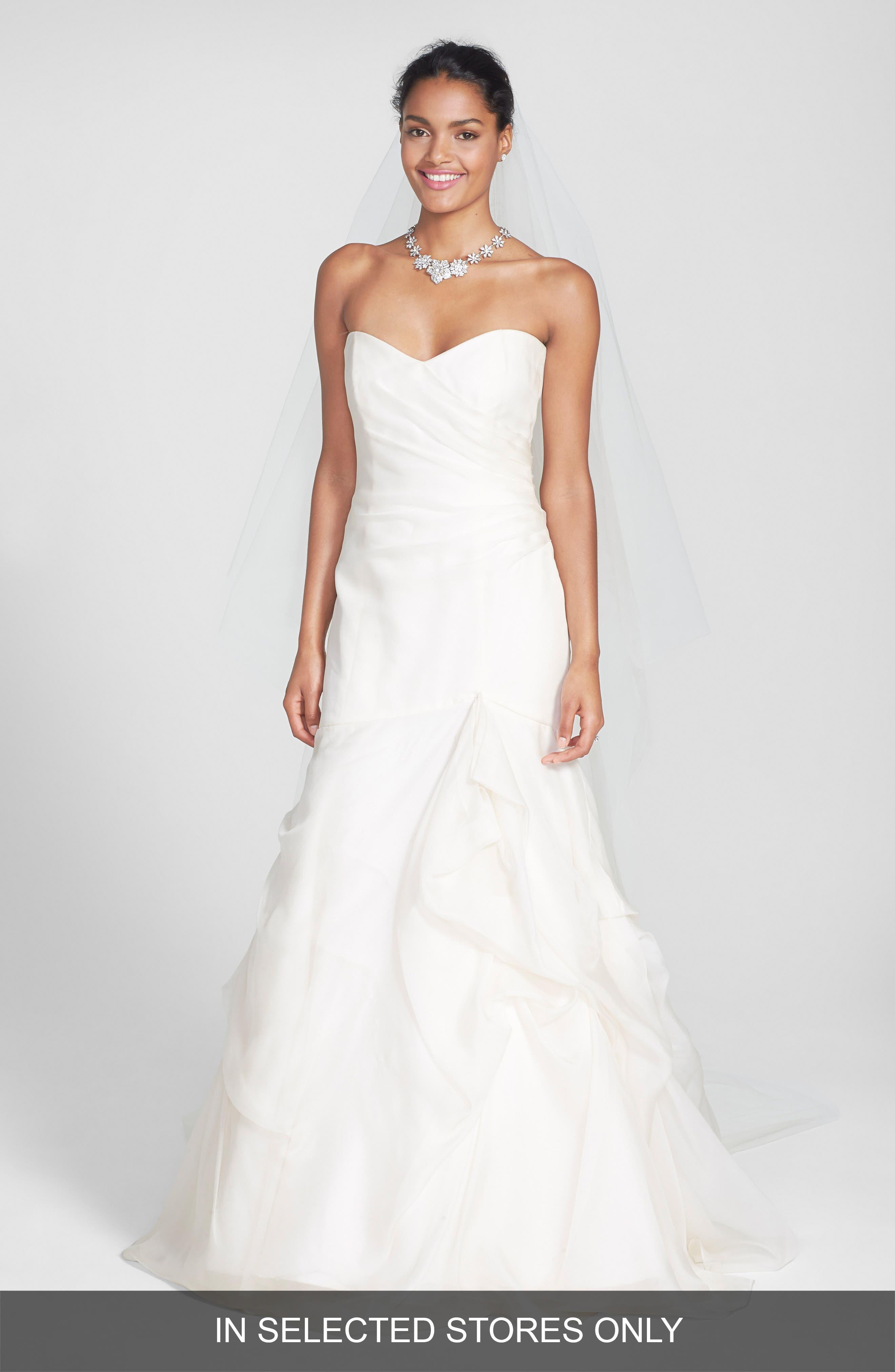 Alternate Image 1 Selected - BLISS Monique Lhuillier Strapless Silk Organza Mermaid Wedding Dress