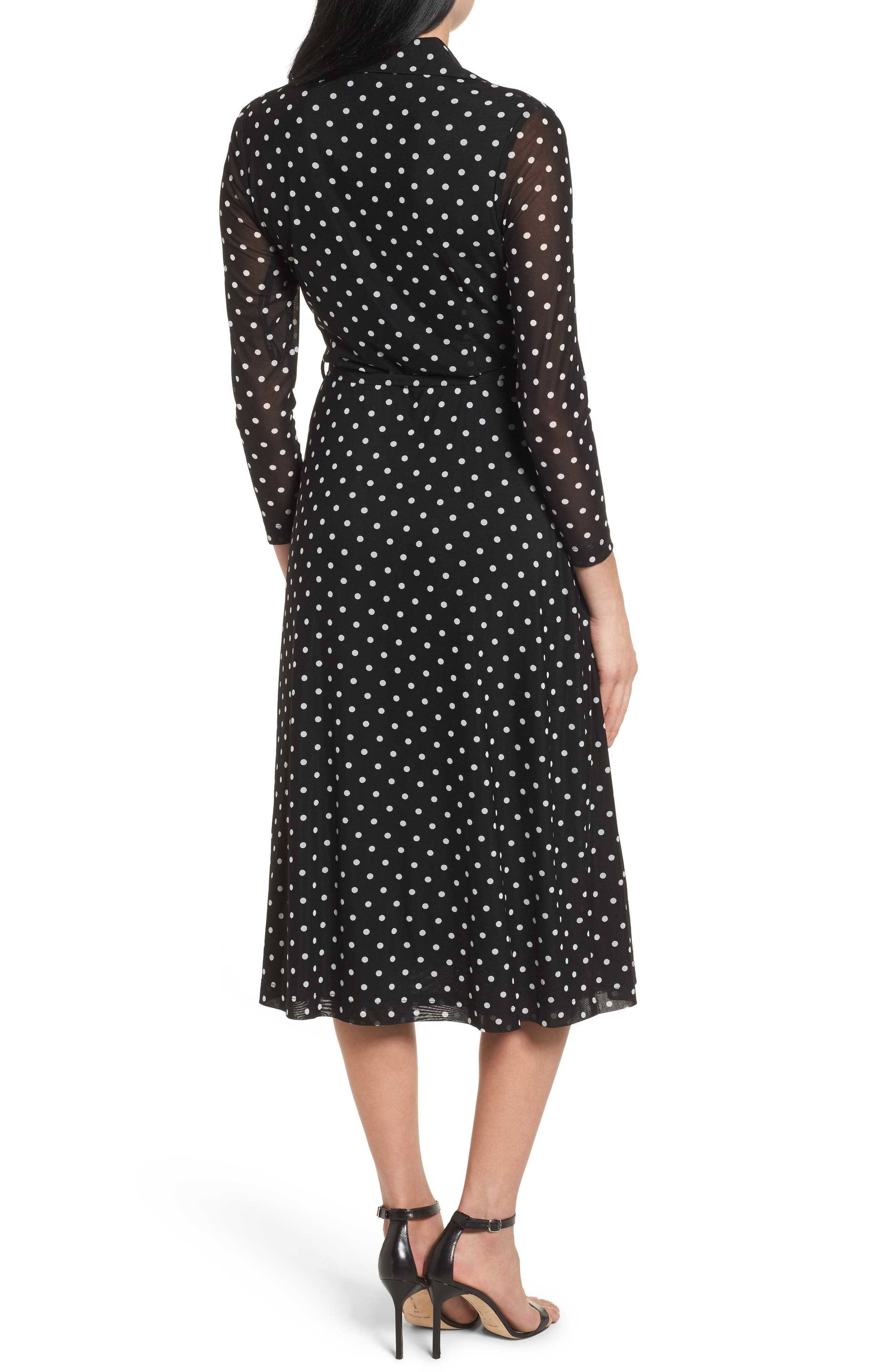 Polka Dot Shirt Dress,                             Alternate thumbnail 2, color,                             Black/ White