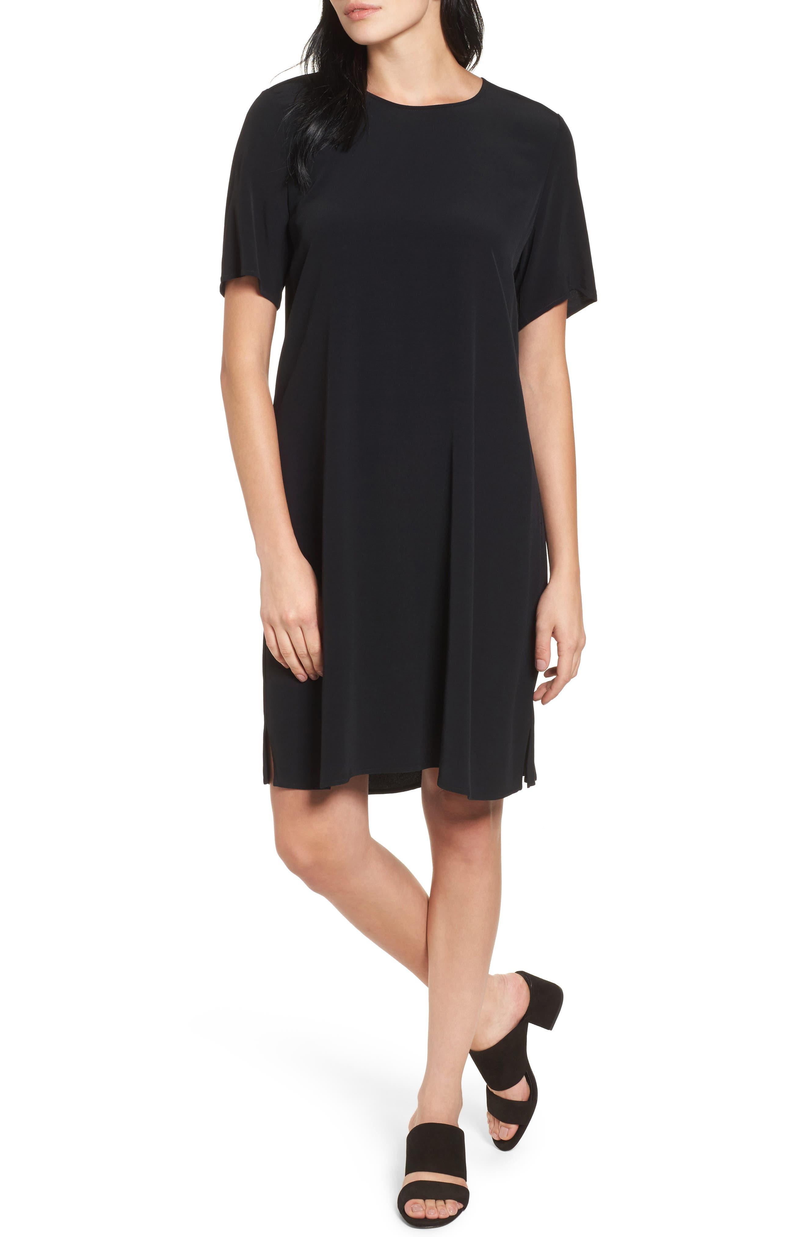 Tencel<sup>®</sup> Lyocell Blend Jersey Shift Dress,                         Main,                         color, Black