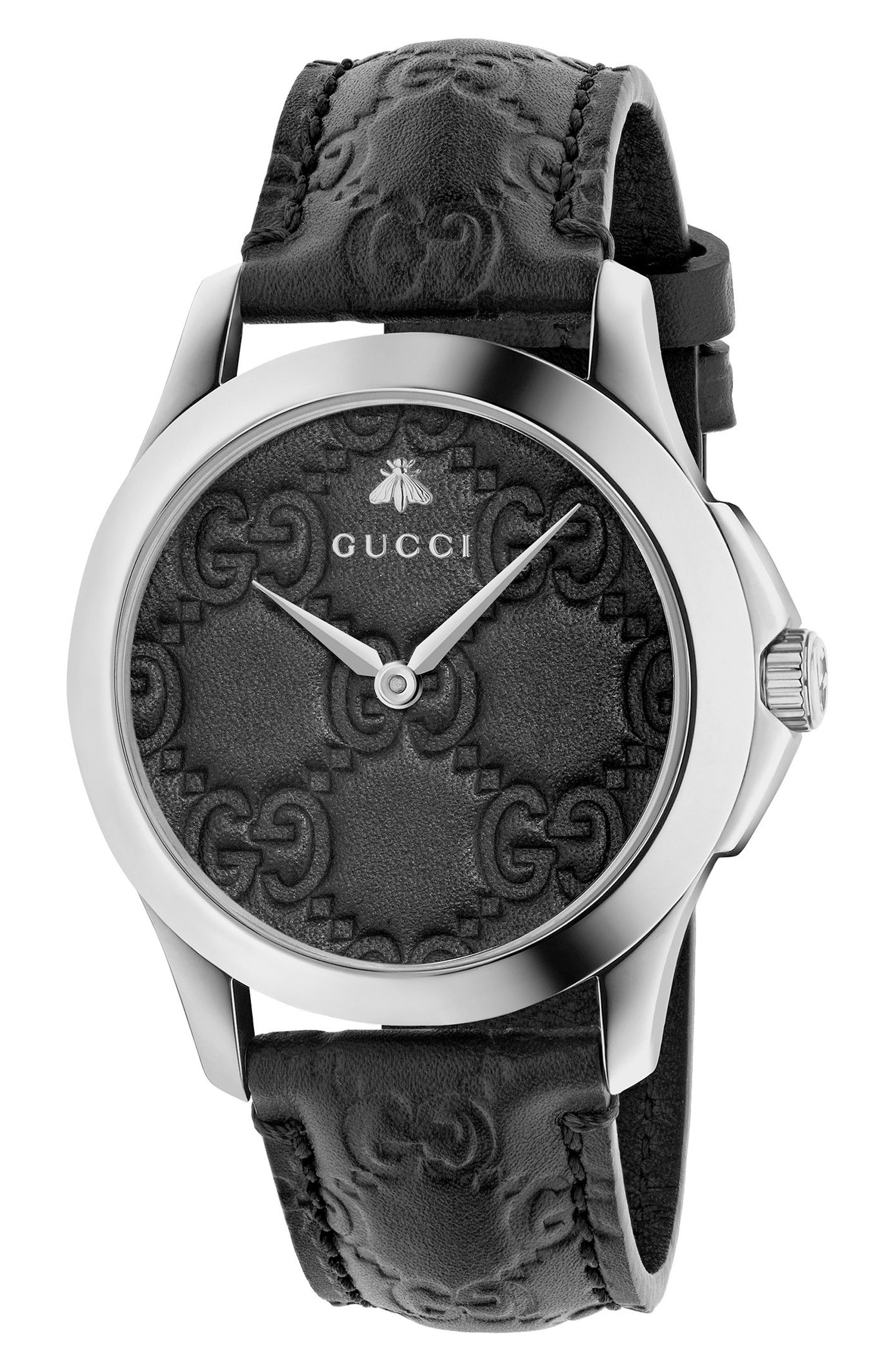 G-Timeless Leather Strap Watch, 38mm,                         Main,                         color, Black