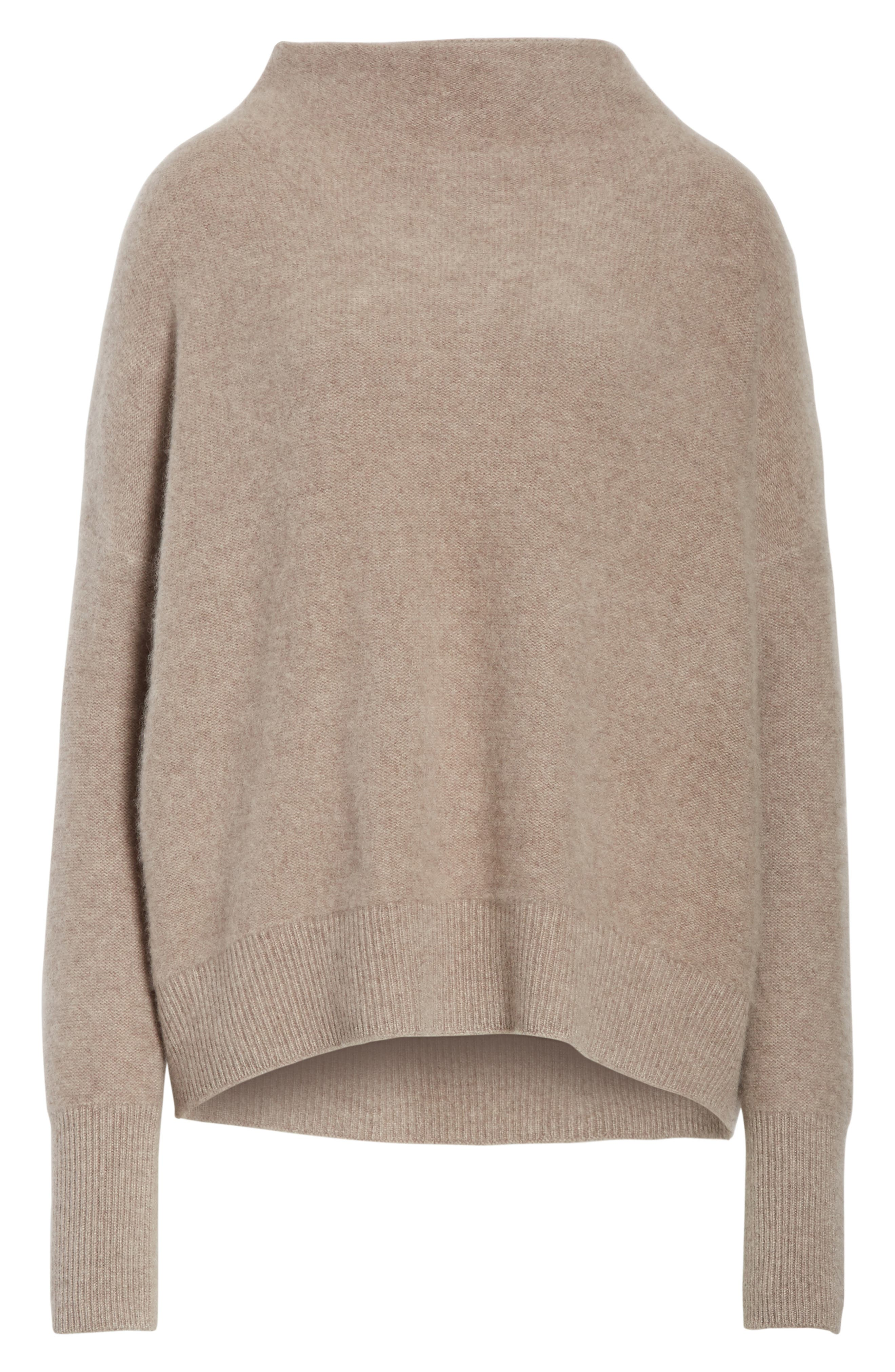Cashmere Funnel Neck Pullover,                             Alternate thumbnail 7, color,                             Taupe