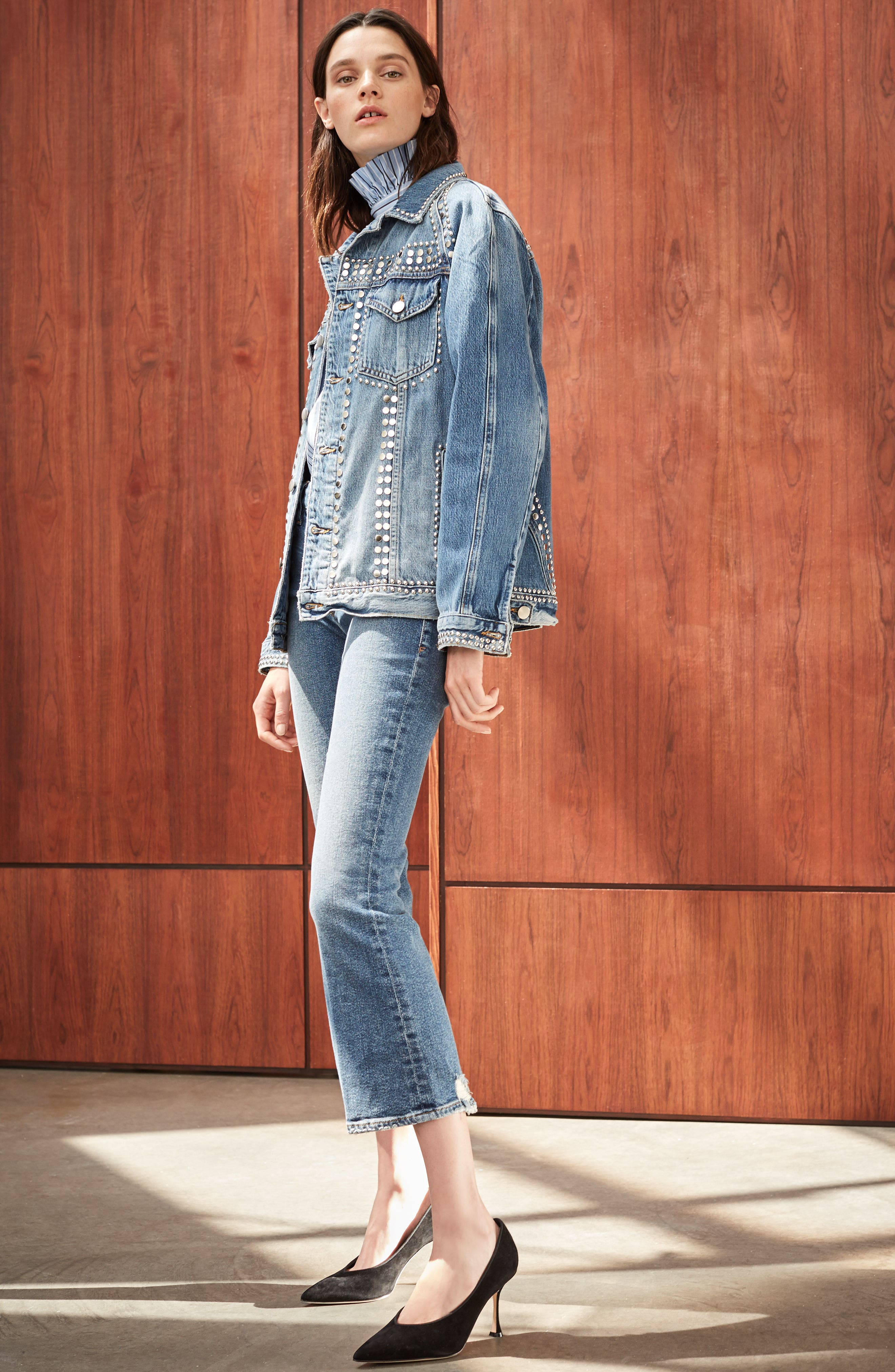 FRAME Jacket, Blouse & Jeans Outfit with Accessories