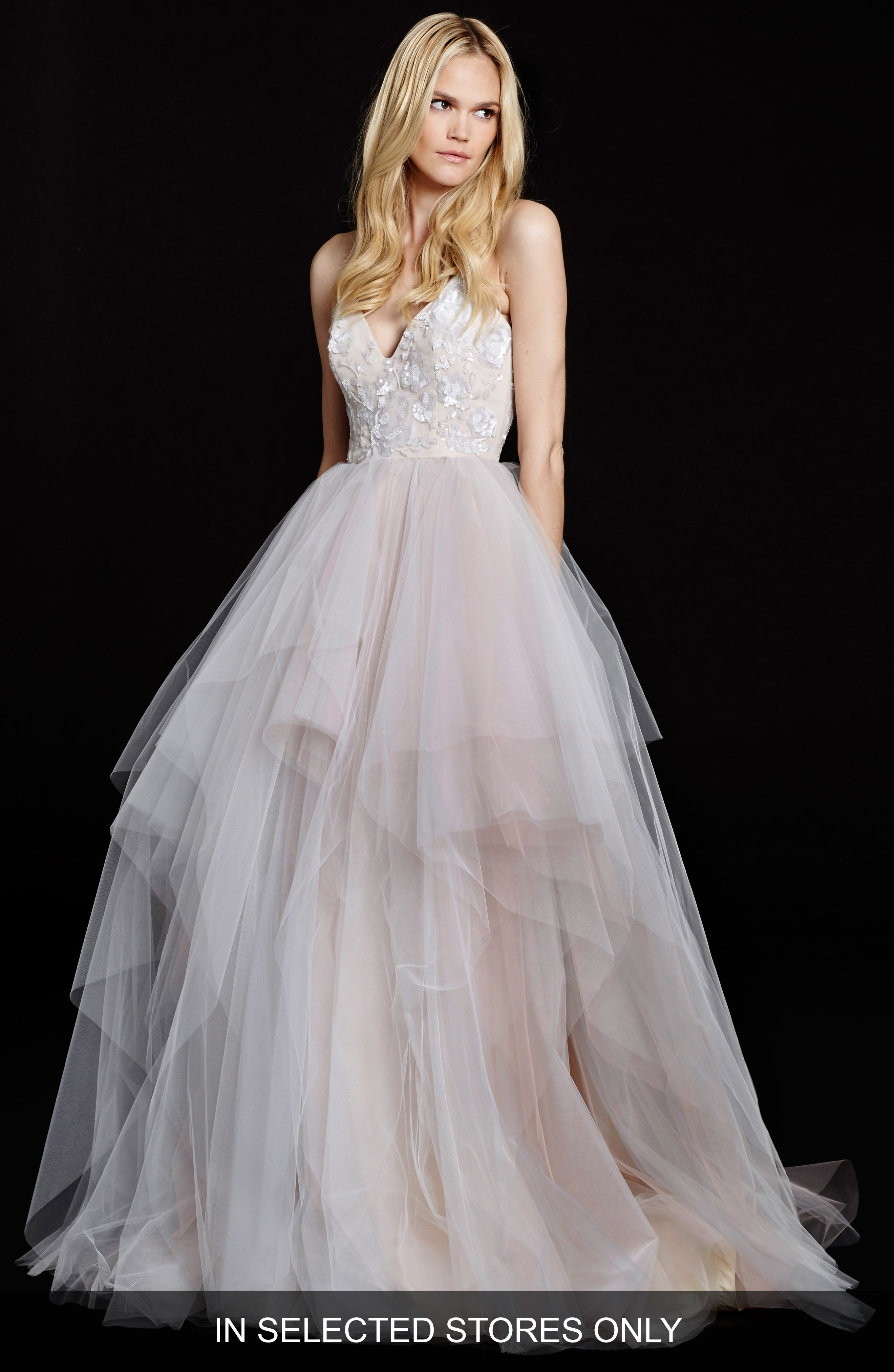 Hayley Paige Nicoletta Floral Sequin Bodice Tiered Tulle Gown