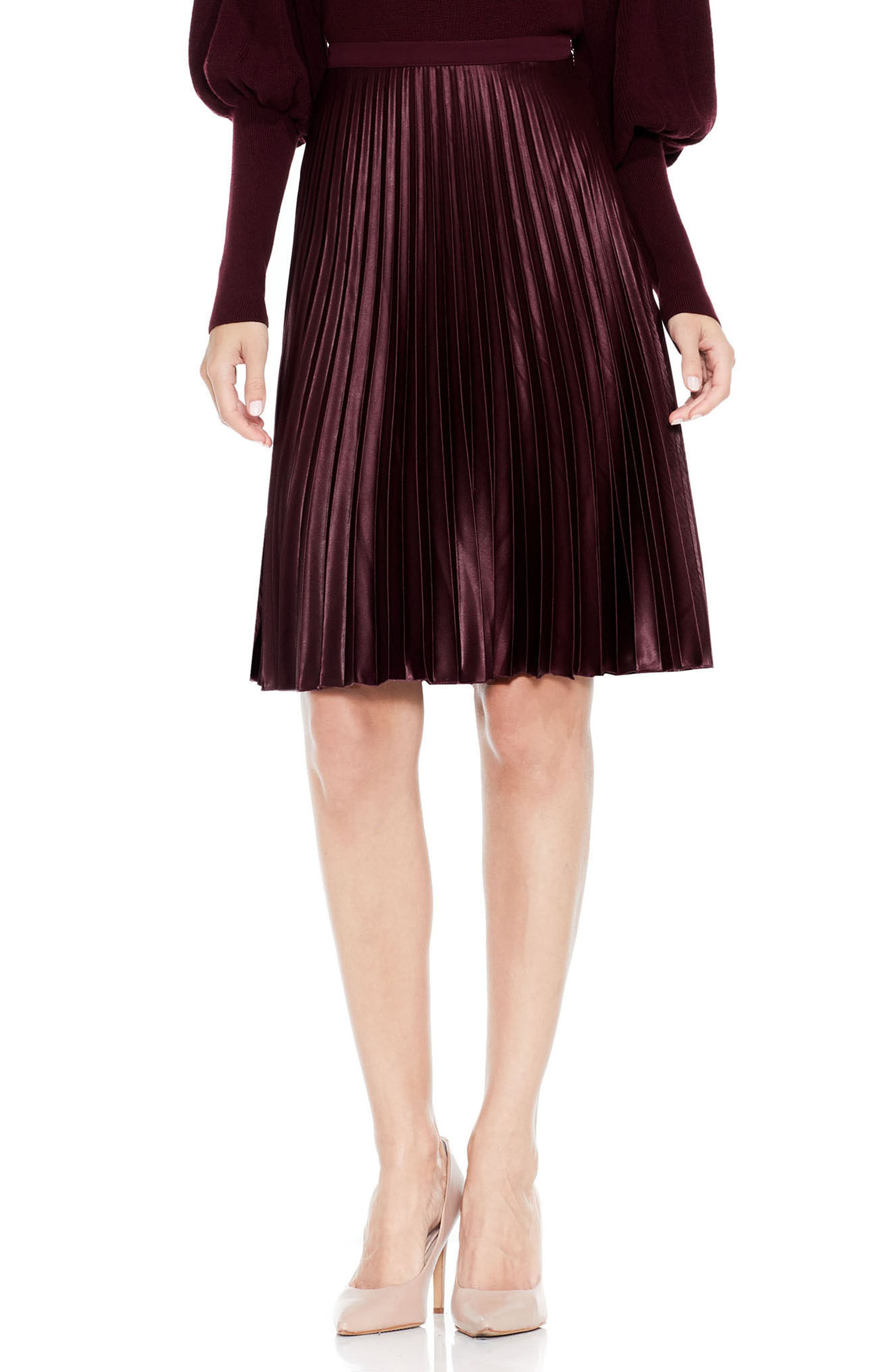 Lacquered Pleated Skirt,                             Main thumbnail 1, color,                             Deep Claret