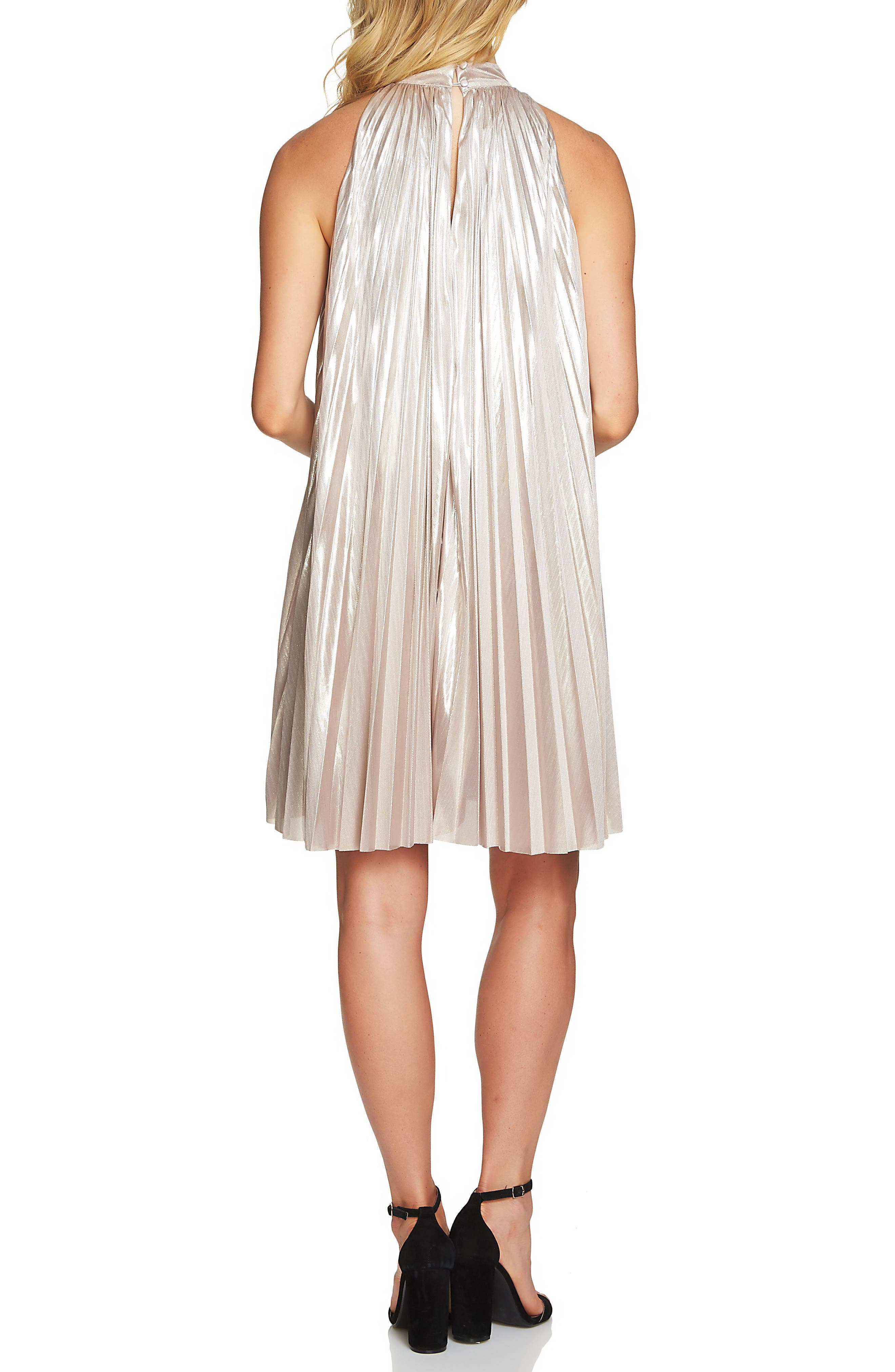 Alternate Image 2  - 1.STATE Pleated Metallic Swing Dress