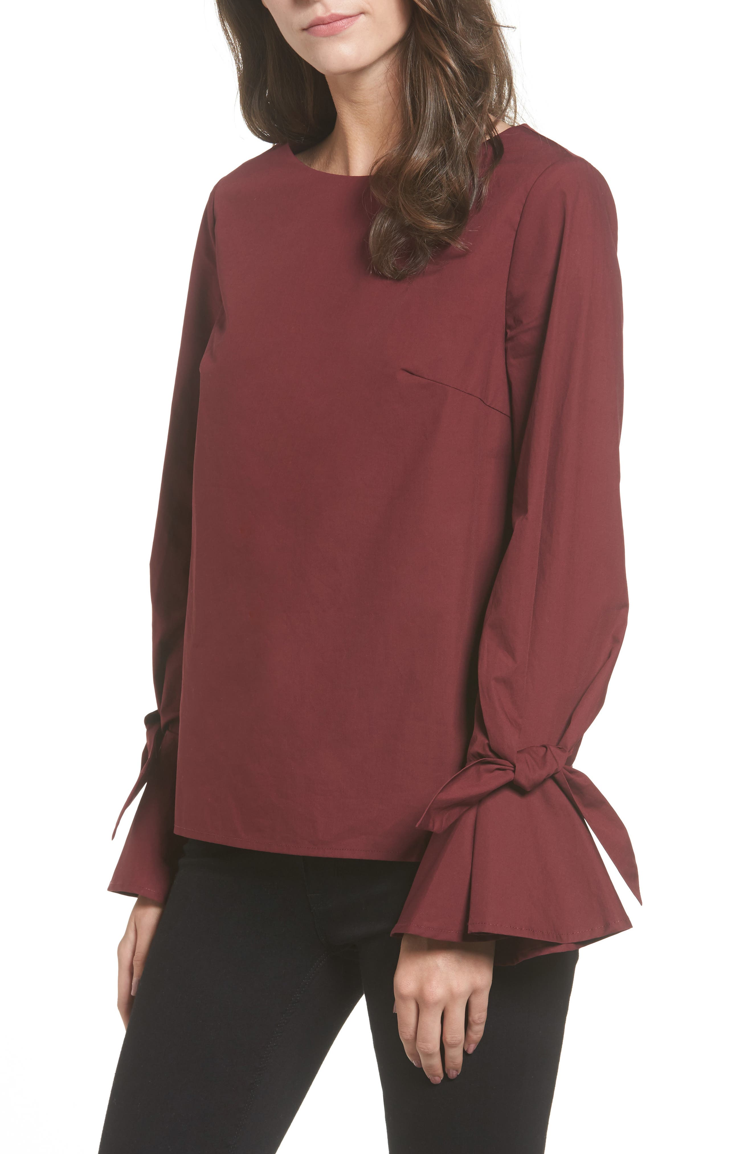 Alternate Image 1 Selected - Soprano Tie Cuff Poplin Top