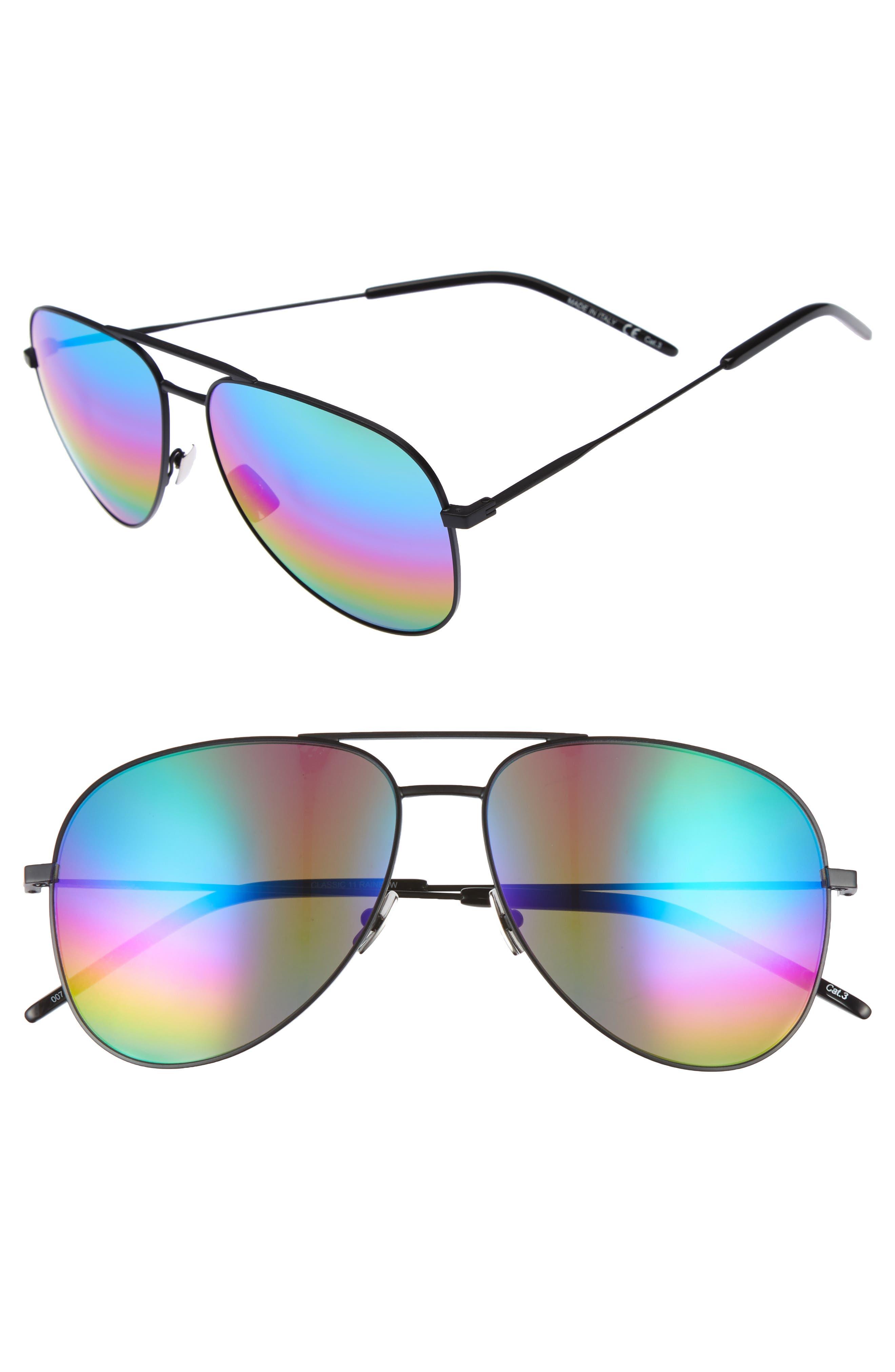 Classic 59mm Aviator Sunglasses,                             Main thumbnail 1, color,                             Black/ Multi
